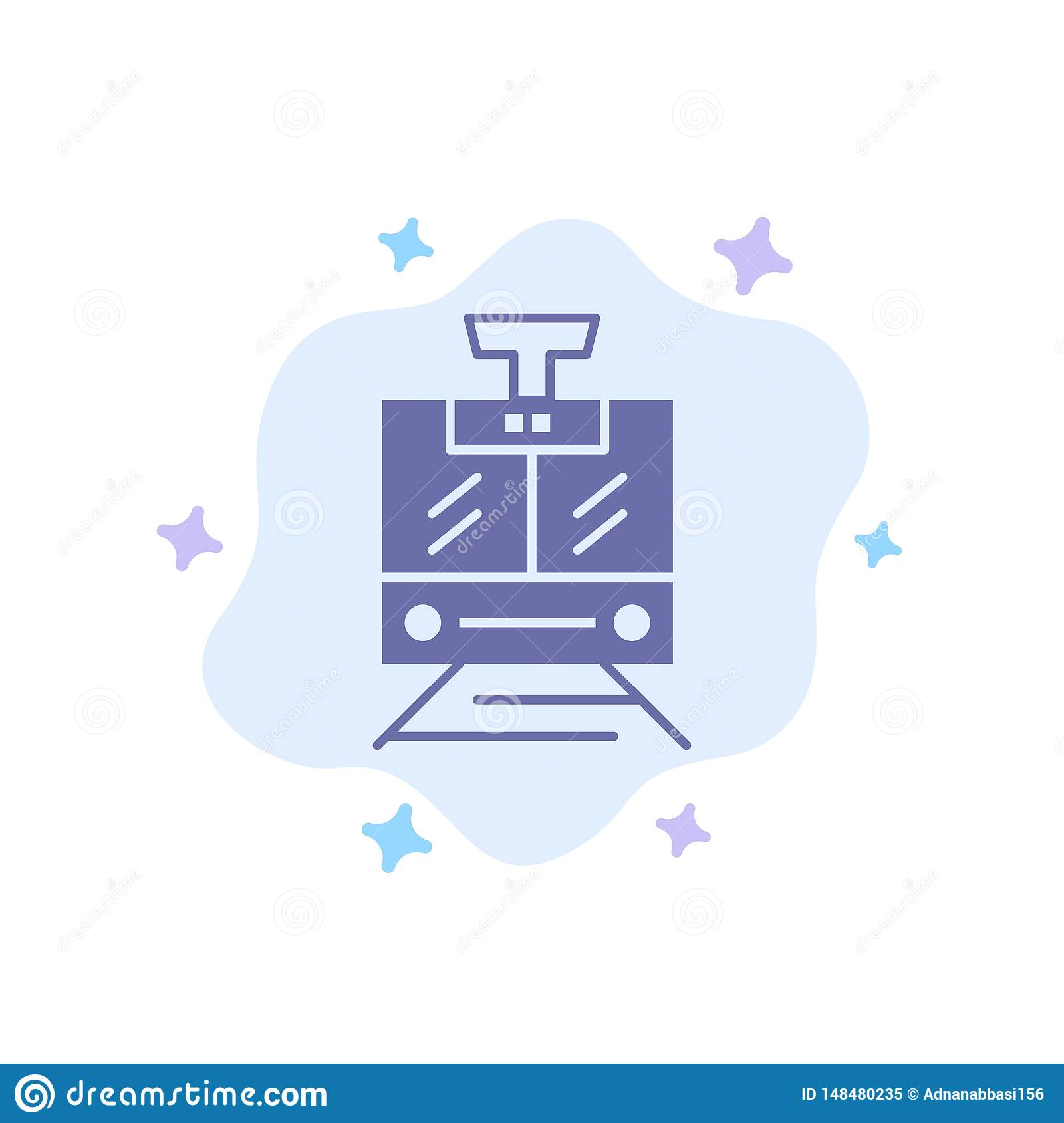 Train, Public, Service, Vehicle Blue Icon on Abstract Cloud Background