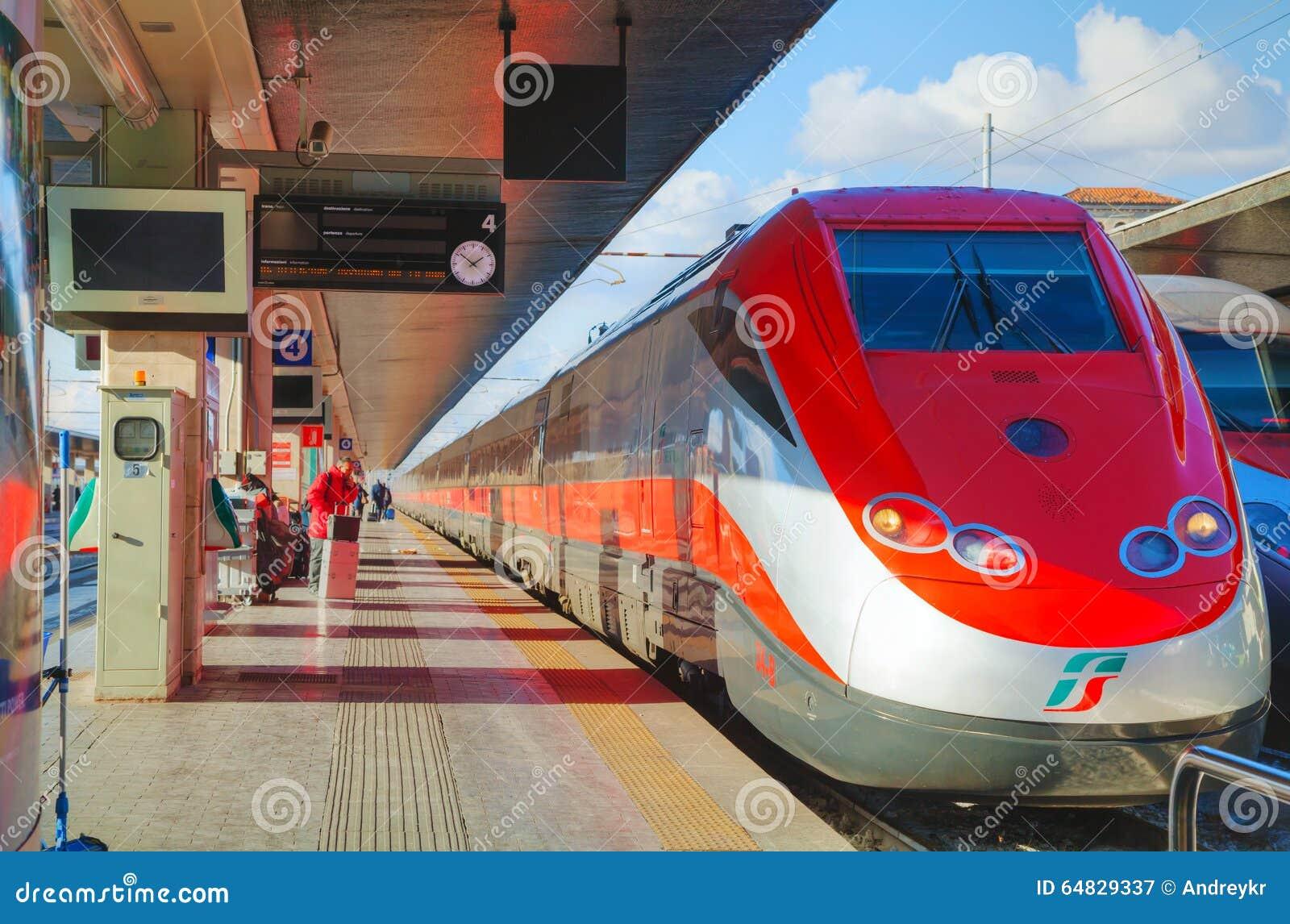 Train at Santa Lucia station in Venice