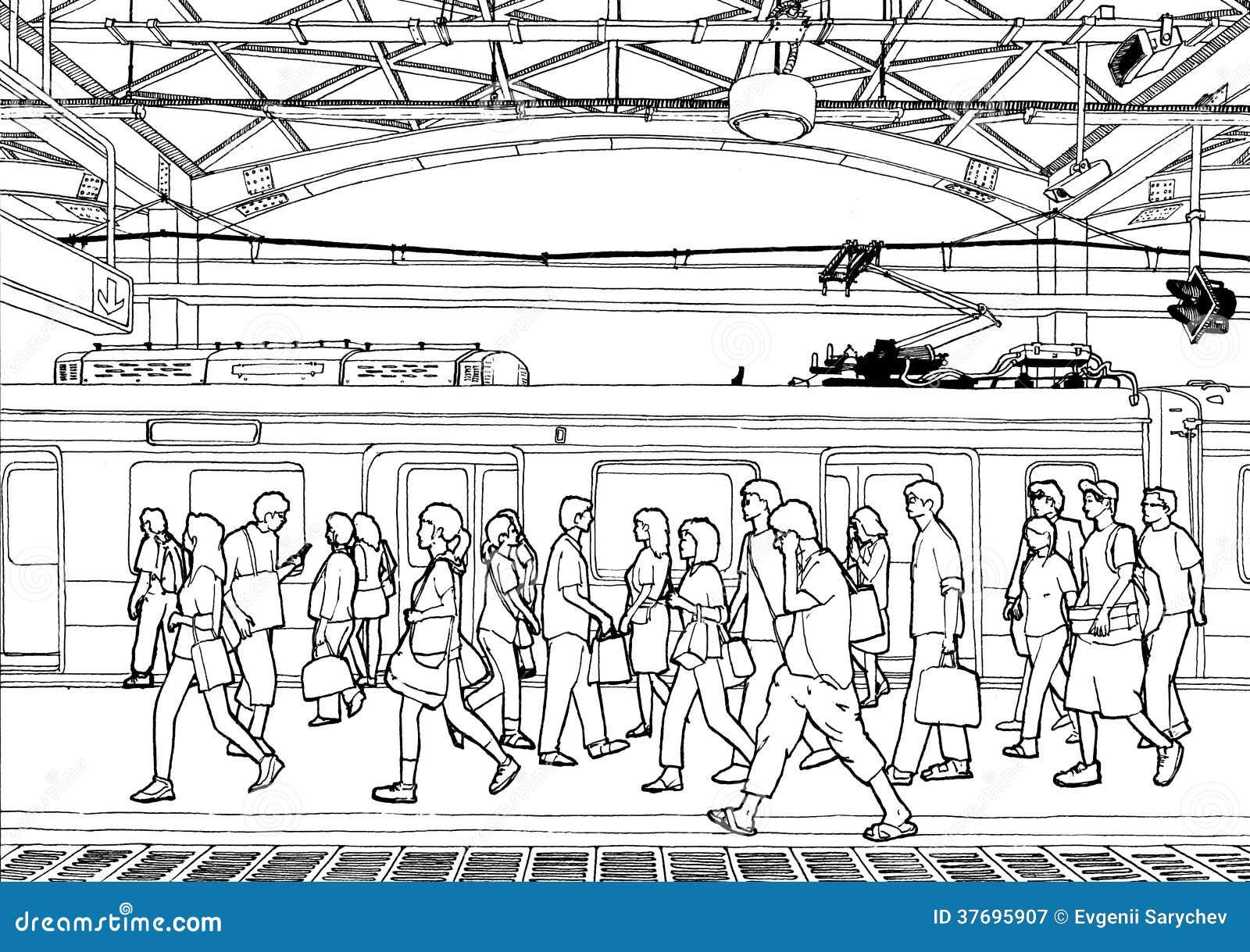 Train Station (outline) Stock Illustration. Illustration