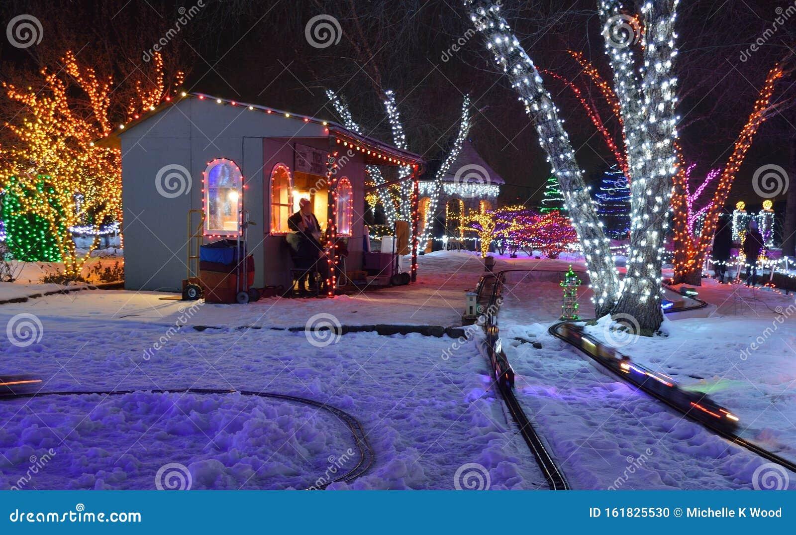Train Station Trains Tracks Outdoor Christmas Colorful Lights Stock Photo Image Of Botanical Blue 161825530