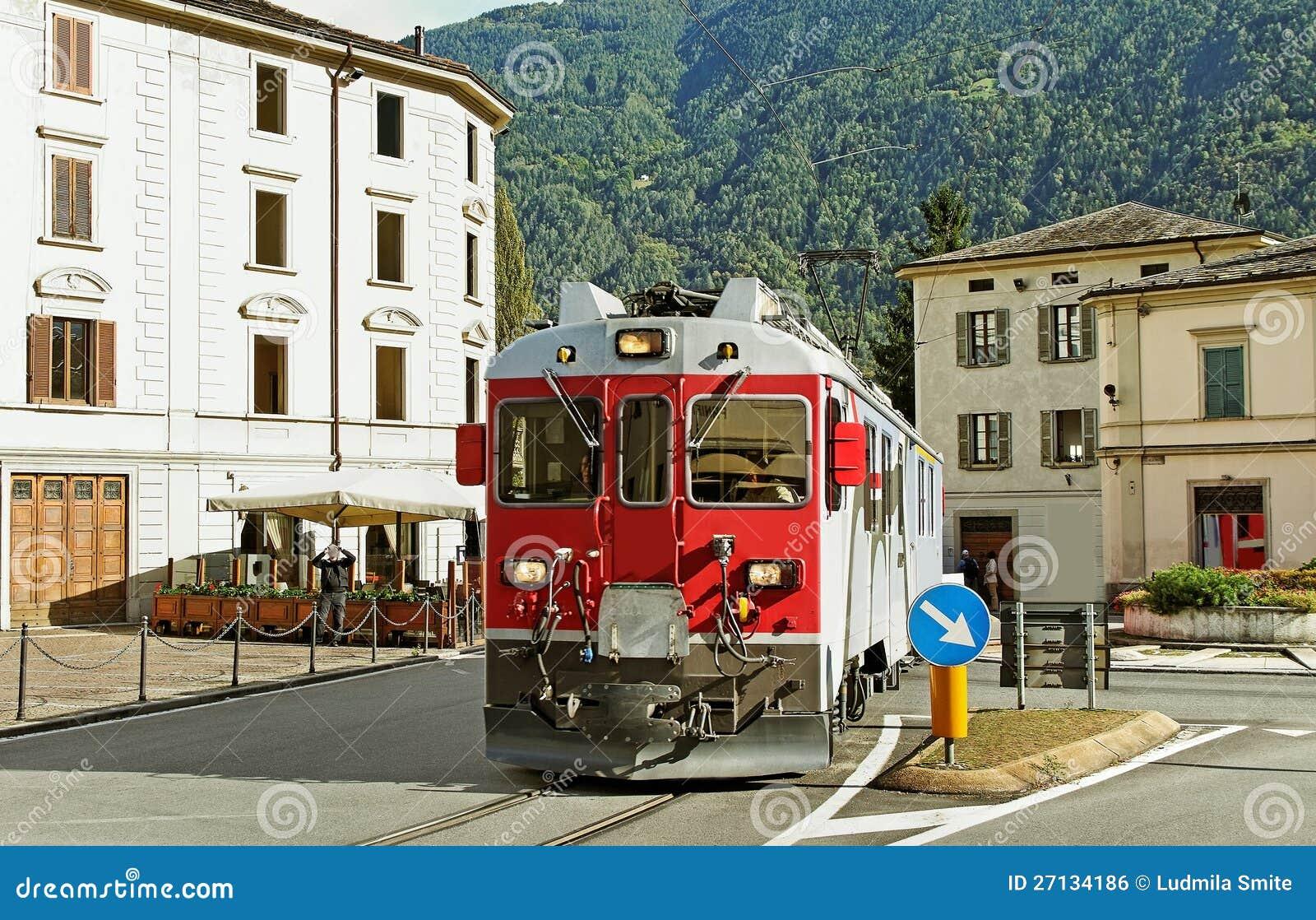 Train on the street.