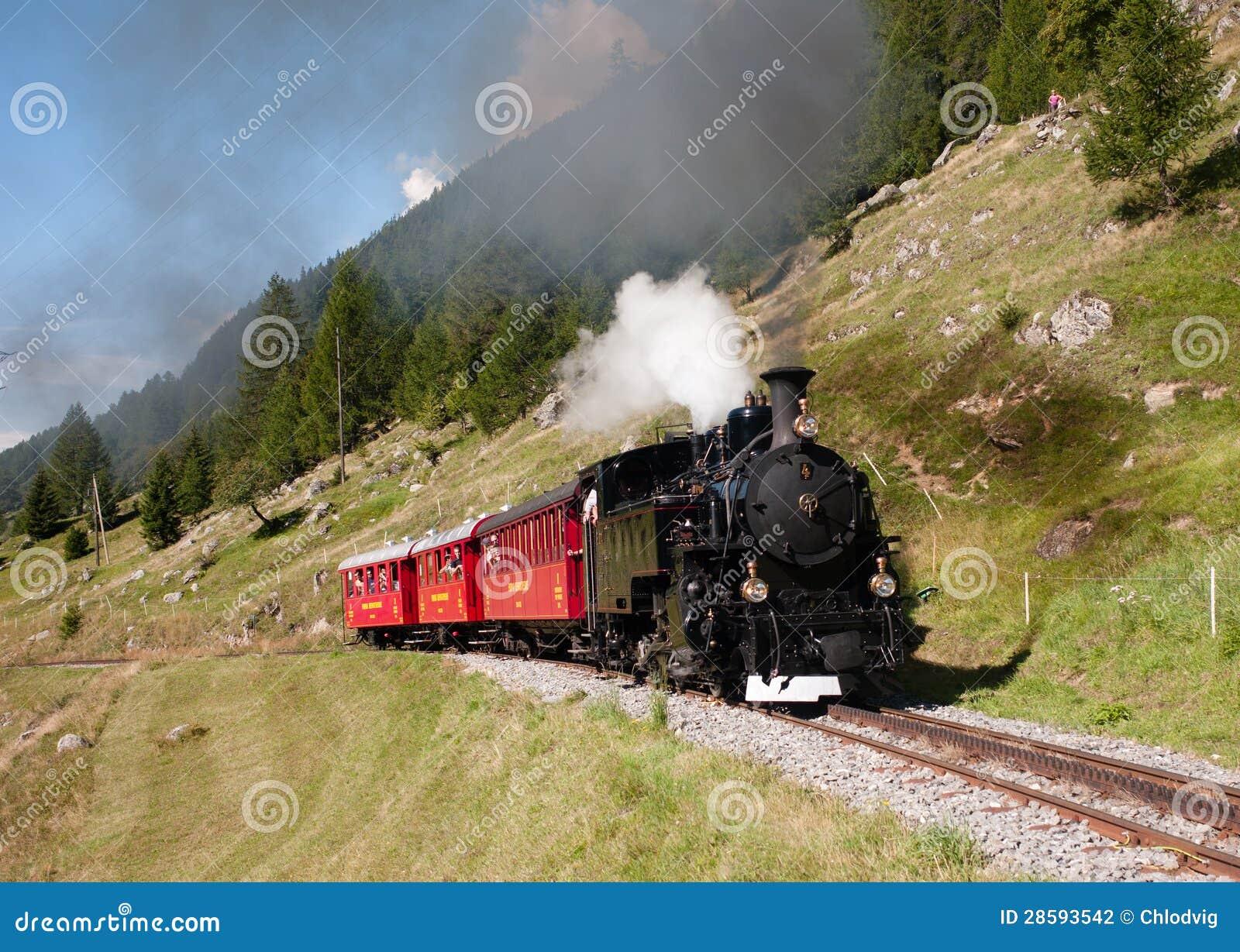 Train touristique de vapeur en Suisse