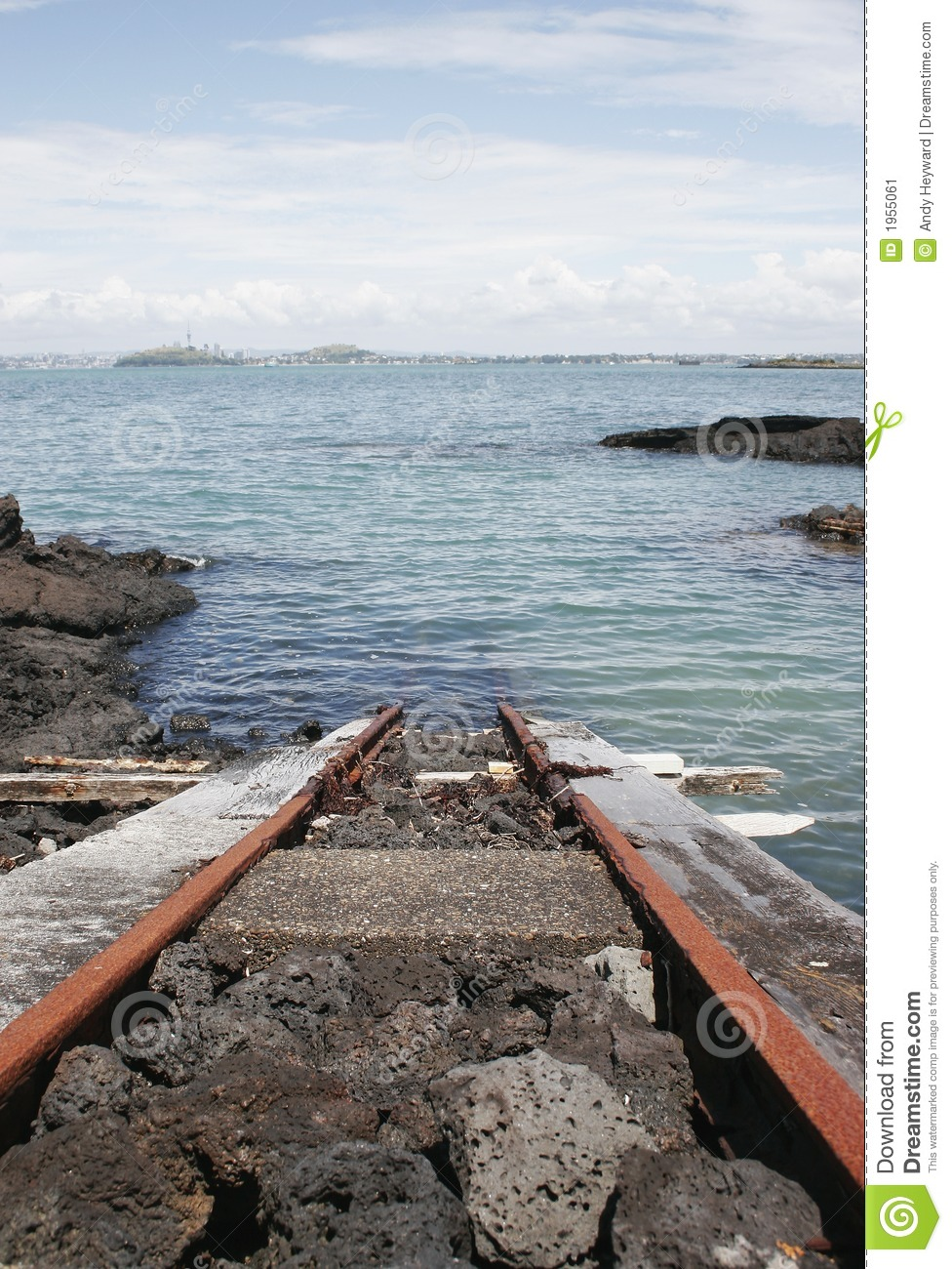 Train Track Into The Ocean Stock Image Image Of Beach