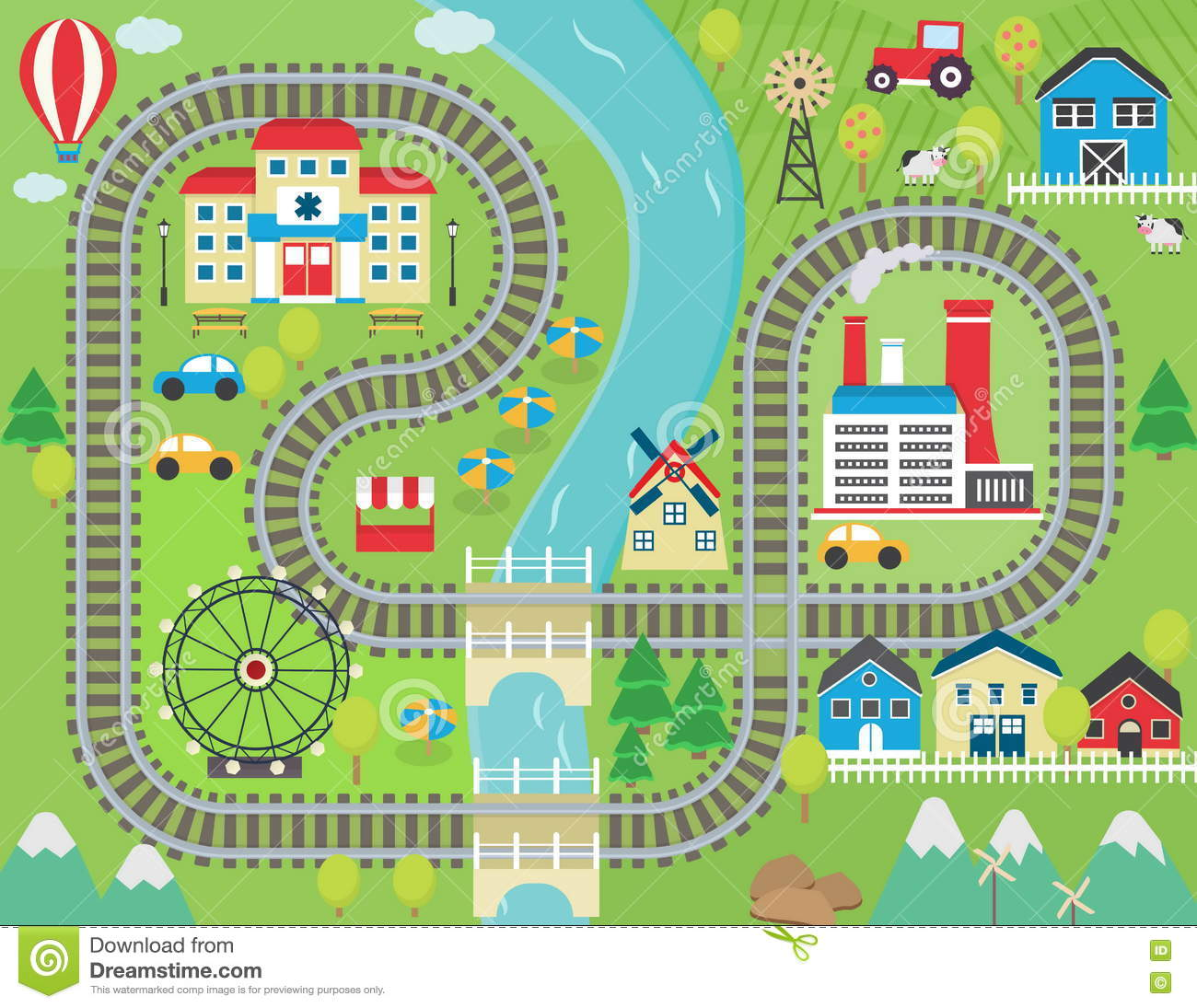 Train Track Play Placemat Stock Vector Illustration Of