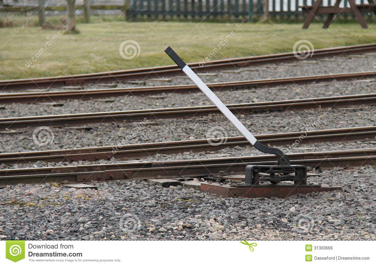 Train Control Lever : Train track points lever royalty free stock images