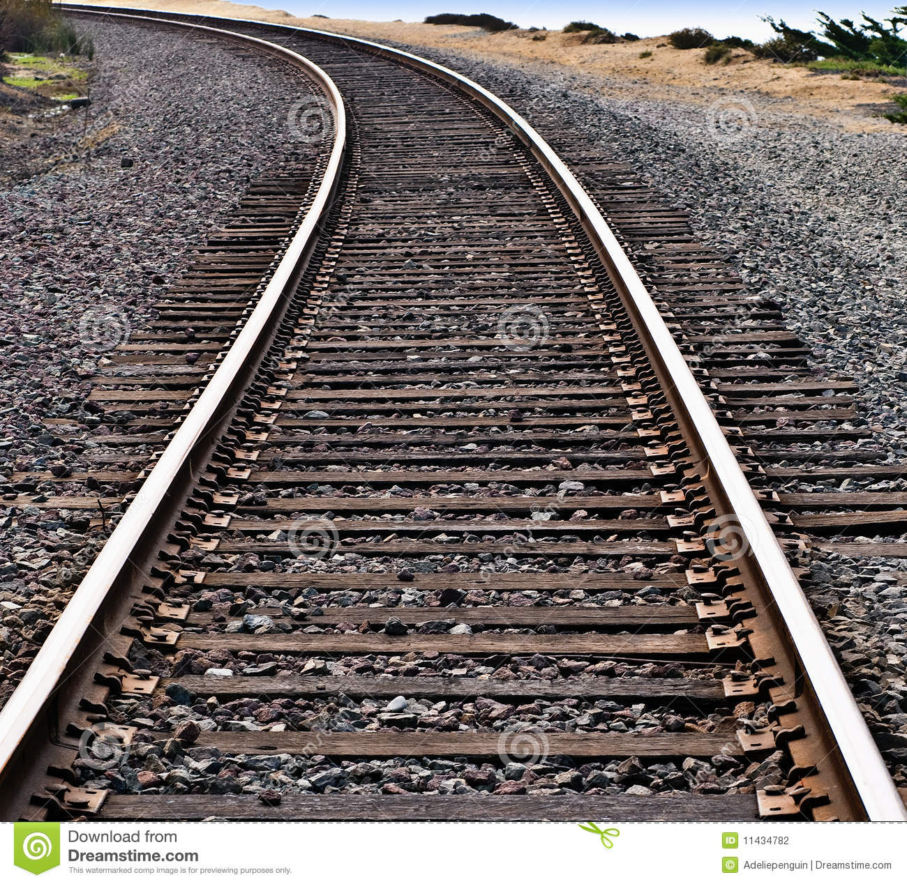 Download Train Tracks Around A Curve Stock Photo - Image of stones, edge: 11434782