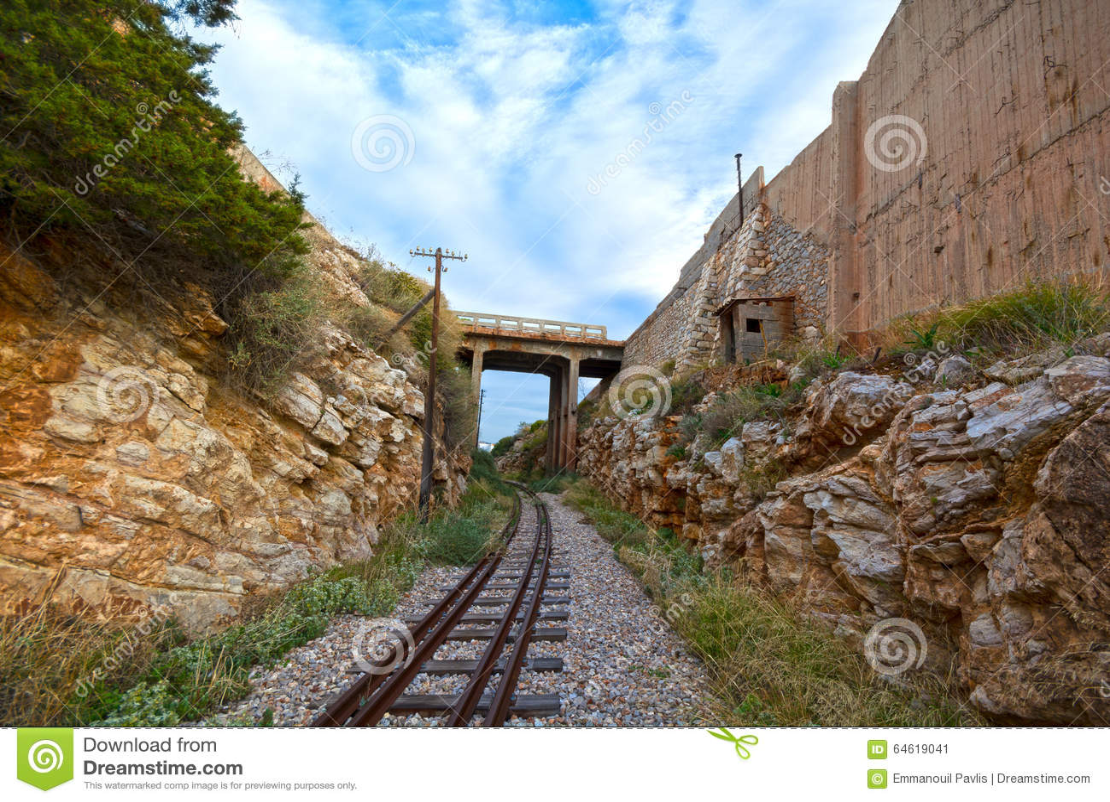 Train tracks and bridge