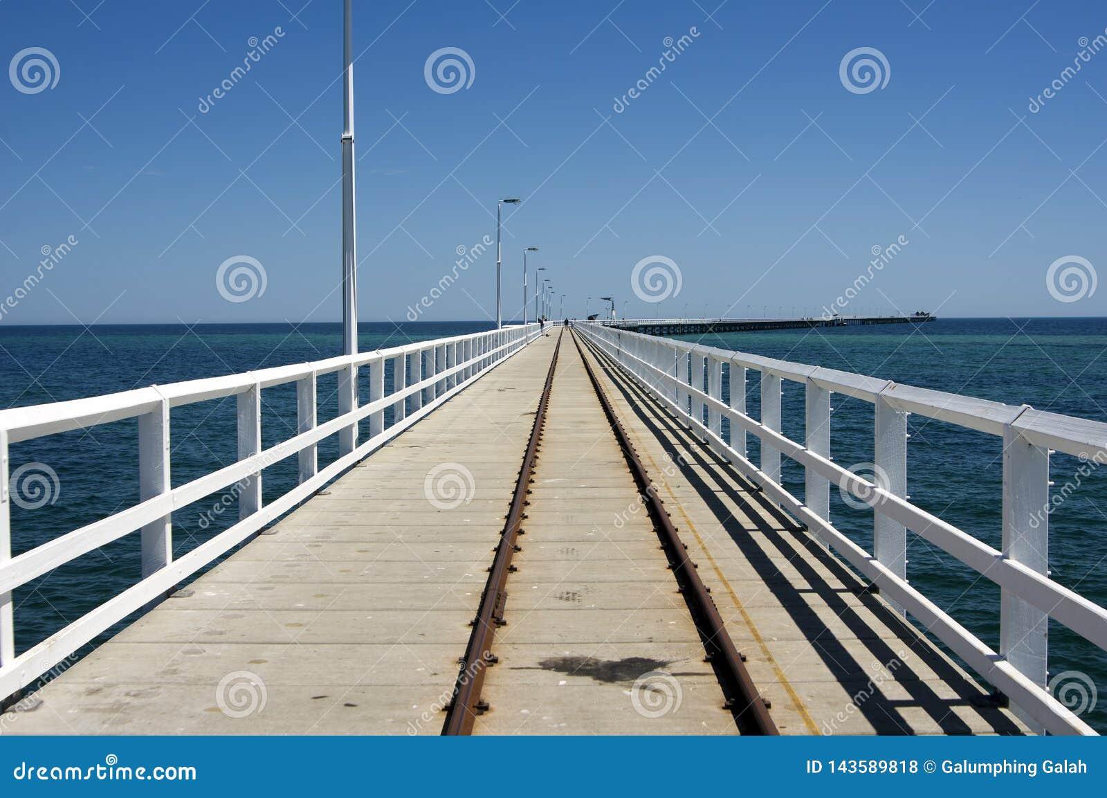 Train tracks on Busselton Jetty, WA, Australia.  Longest jetty in the southern hemisphere.