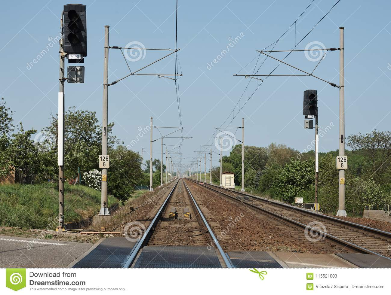 Swell Train Tracks With Columns Electric Wires And Traffic Lights In Wiring Digital Resources Anistprontobusorg