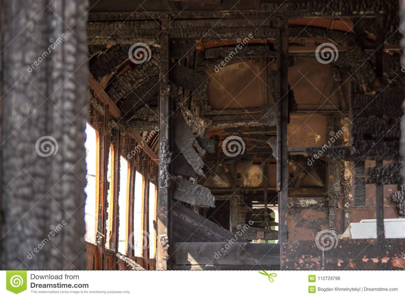 The train wagon burnt from the inside