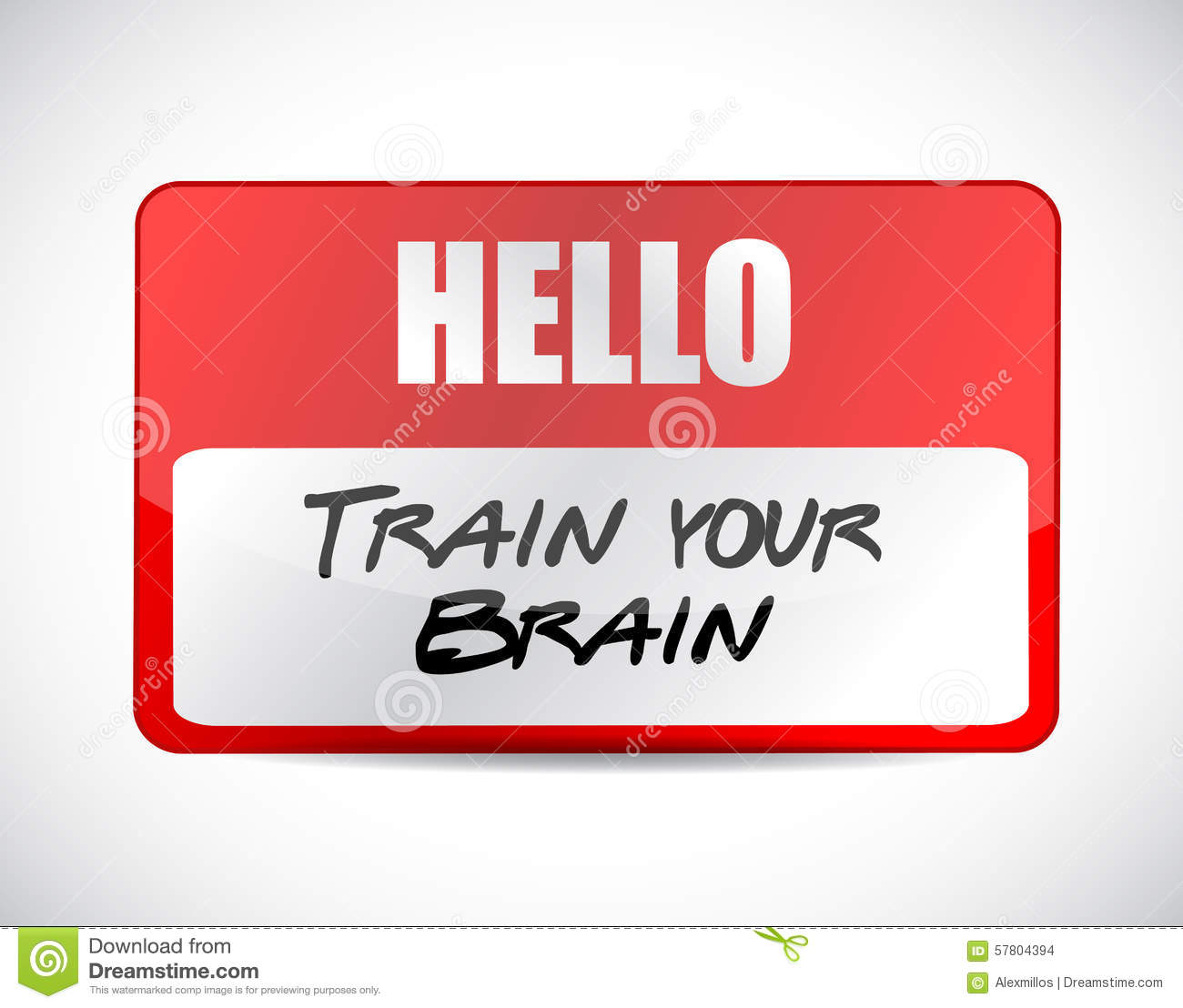 train your brain name tag sign concept