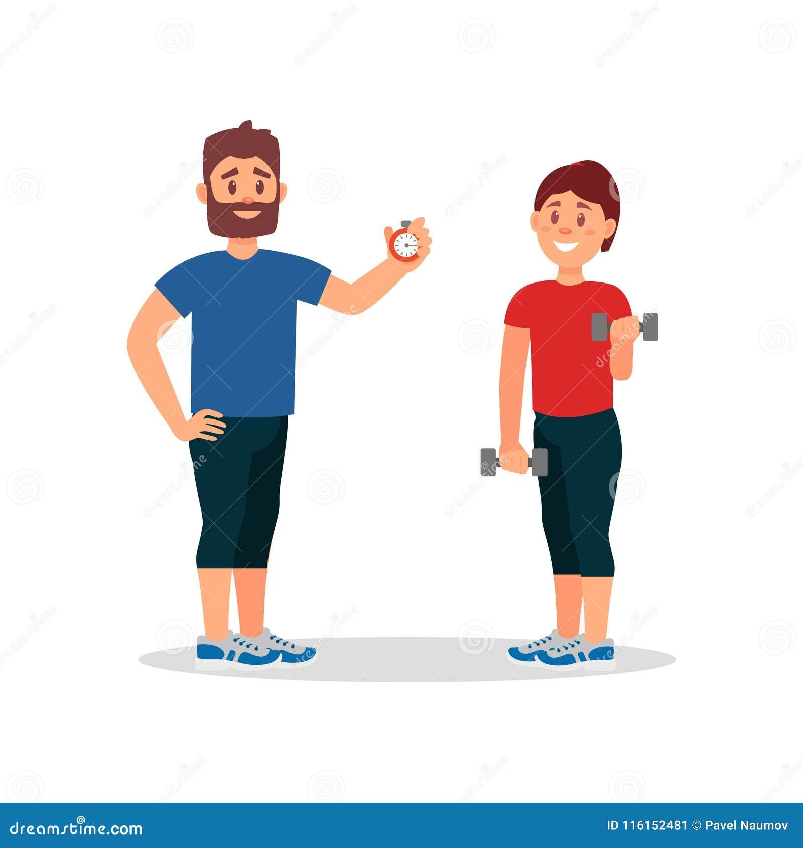 Trainertrainingsfrau in der Turnhalle Trainer, der Stoppuhr, junges Mädchen tut Übung mit Dummköpfen hält Flaches Vektordesign