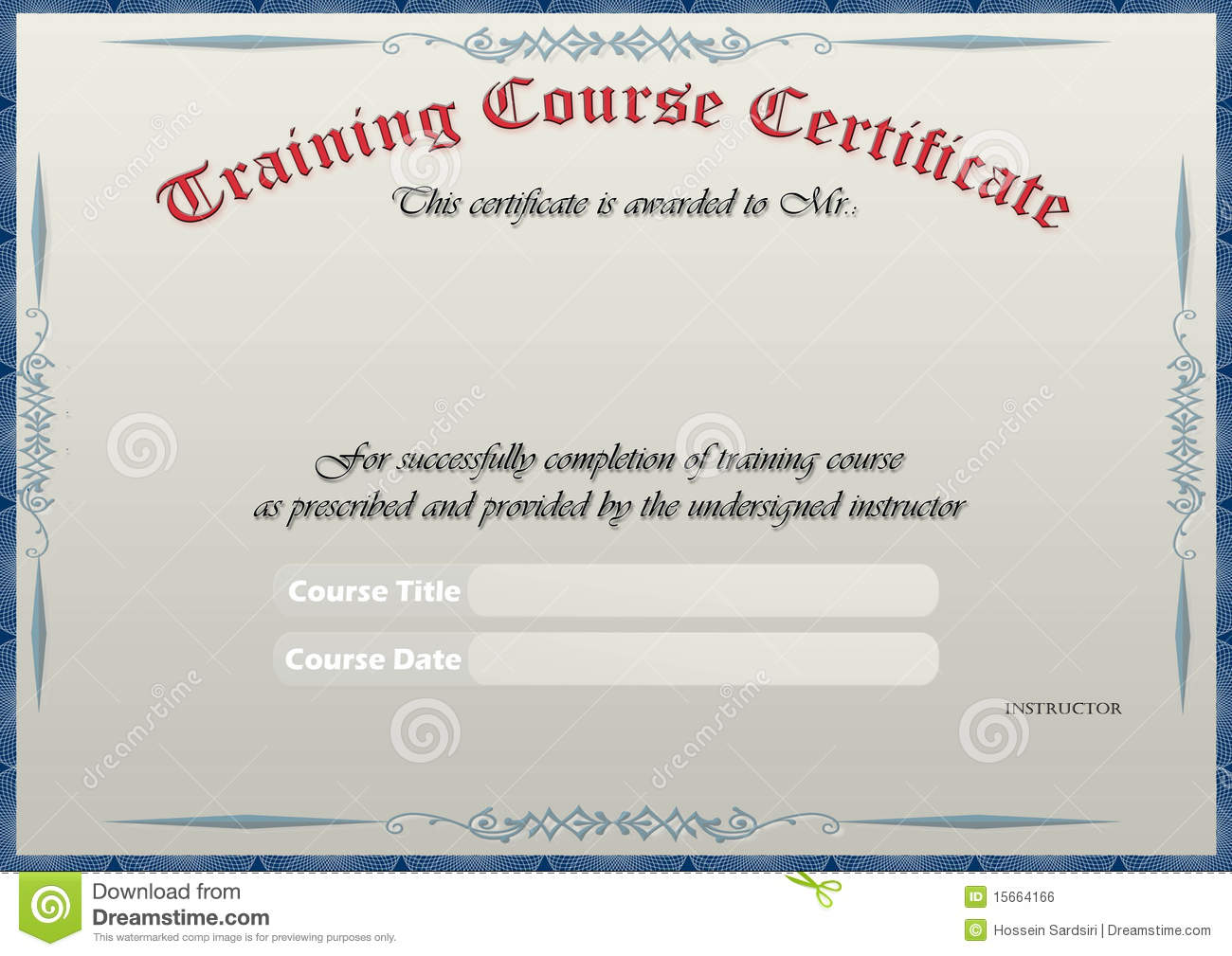 Training Certificate Royalty Free Image Image 15664166 – Training Certificate Template Free Download