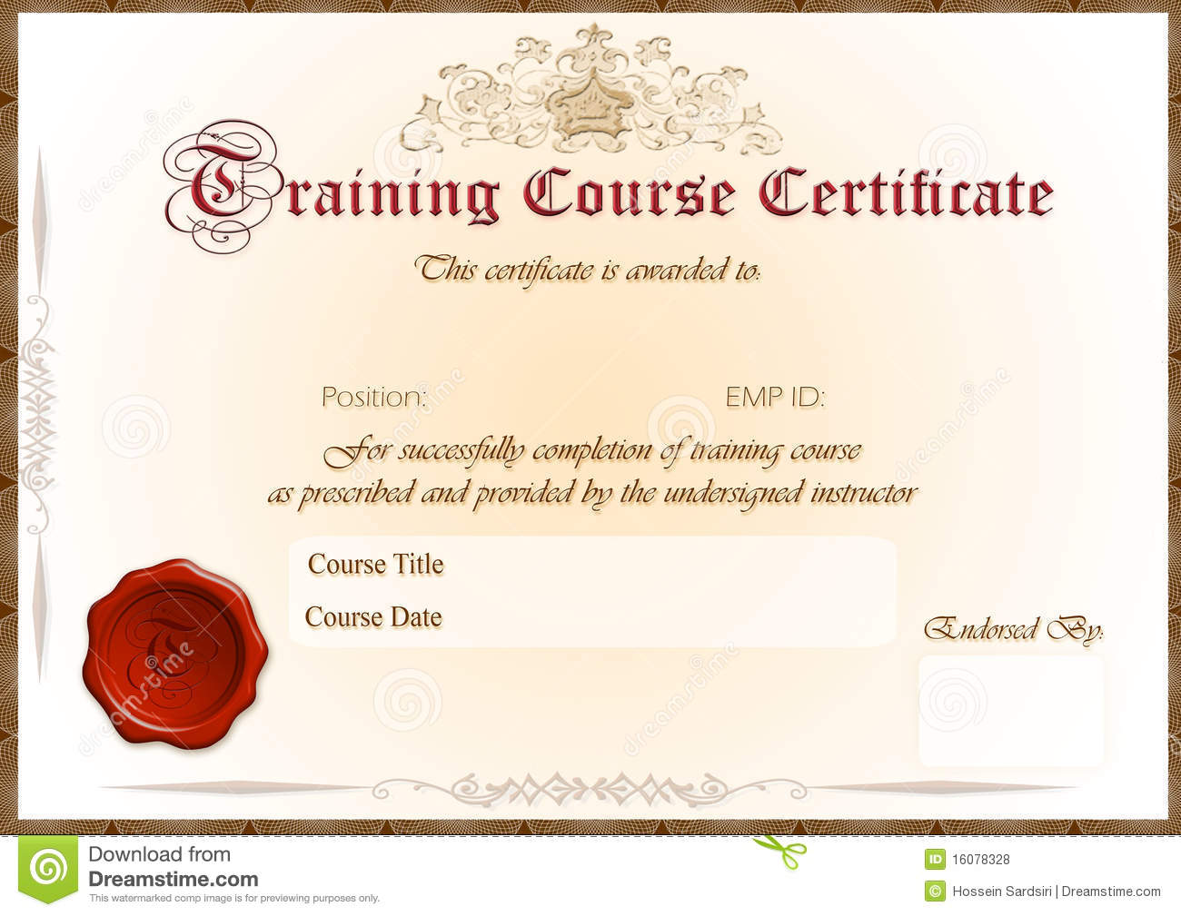 Training Certificate Royalty Free Stock Photos Image