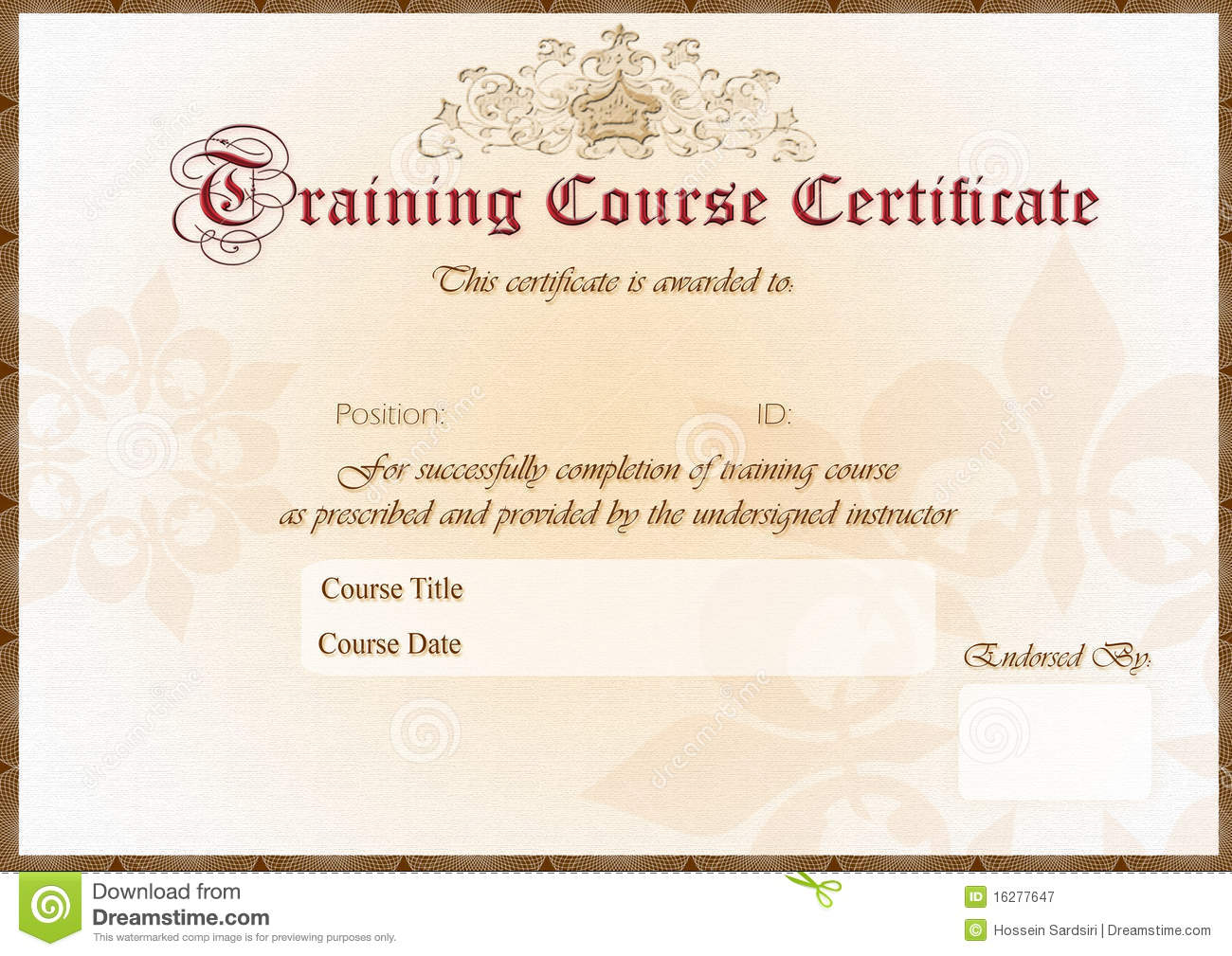 Training Certificate Royalty Free Photography Image 16277647 – Training Certificates Templates Free Download