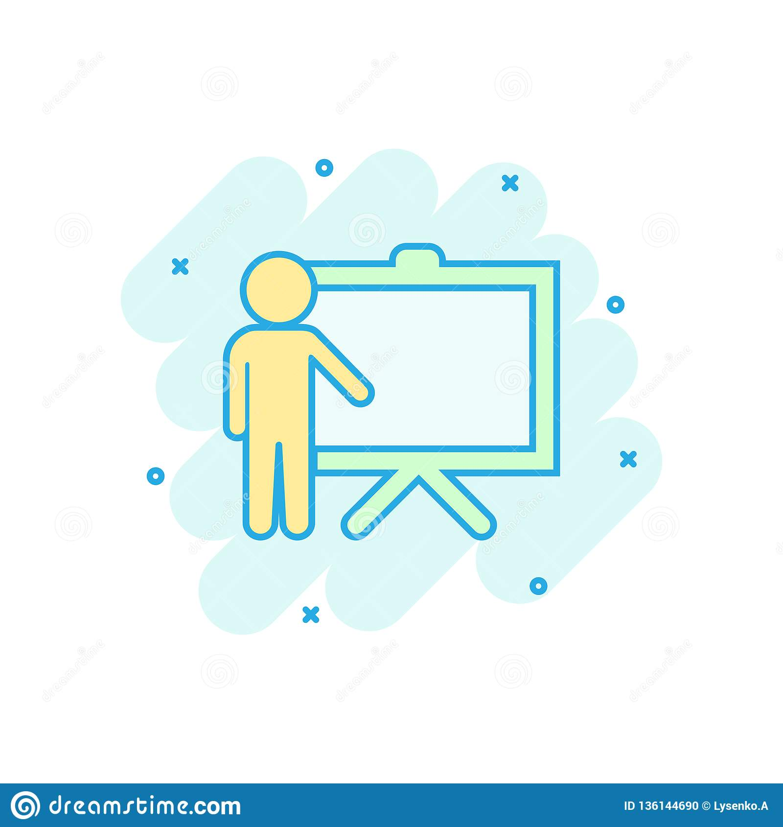 Training Education Icon In Comic Style  People Seminar