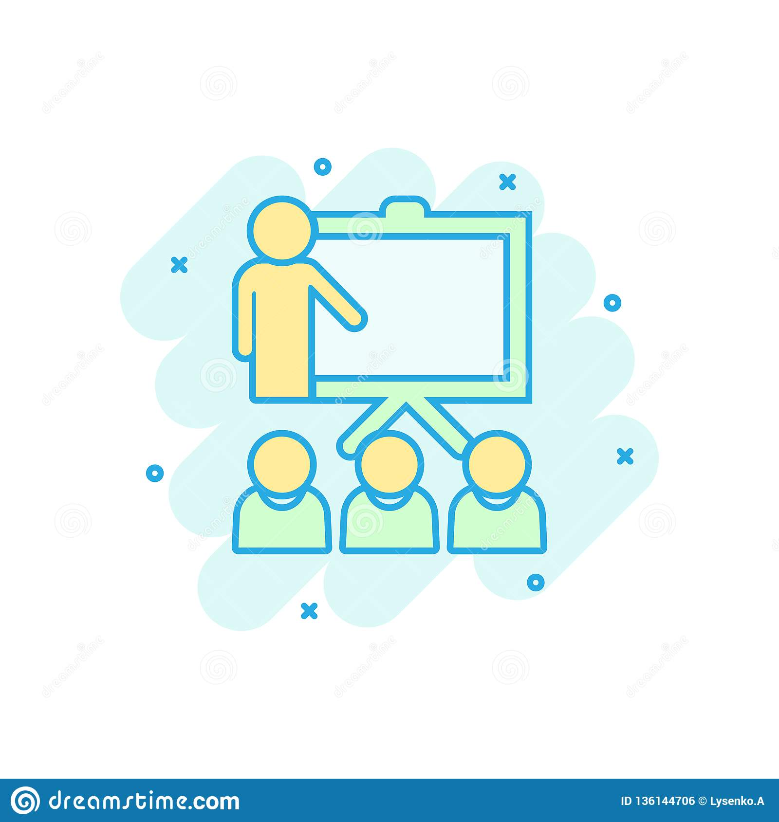 Training education icon in comic style. People seminar vector cartoon illustration pictogram. School classroom lesson business