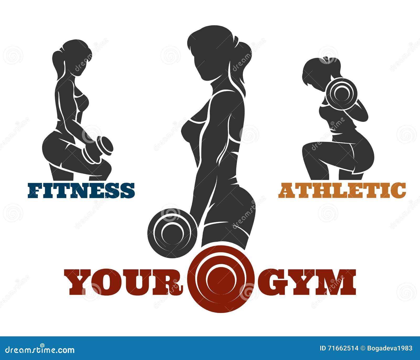 training fitness woman emblem set stock vector image
