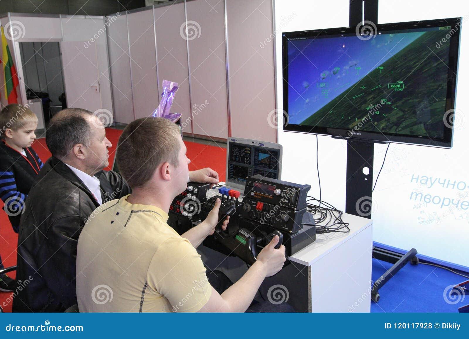 Training On The Flight Simulator Editorial Stock Photo
