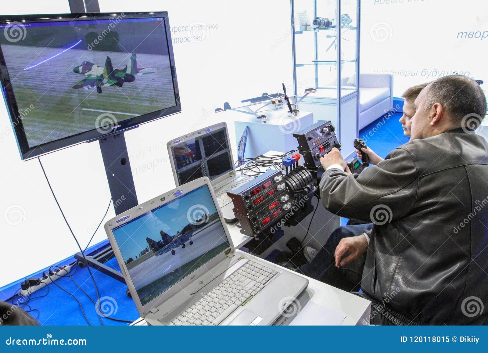 Training On The Flight Simulator Editorial Image - Image of