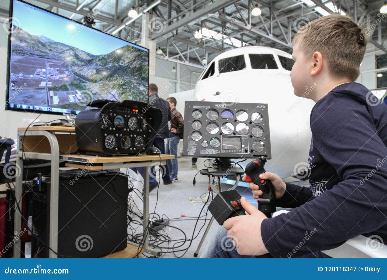 Training On The Flight Simulator Editorial Photography