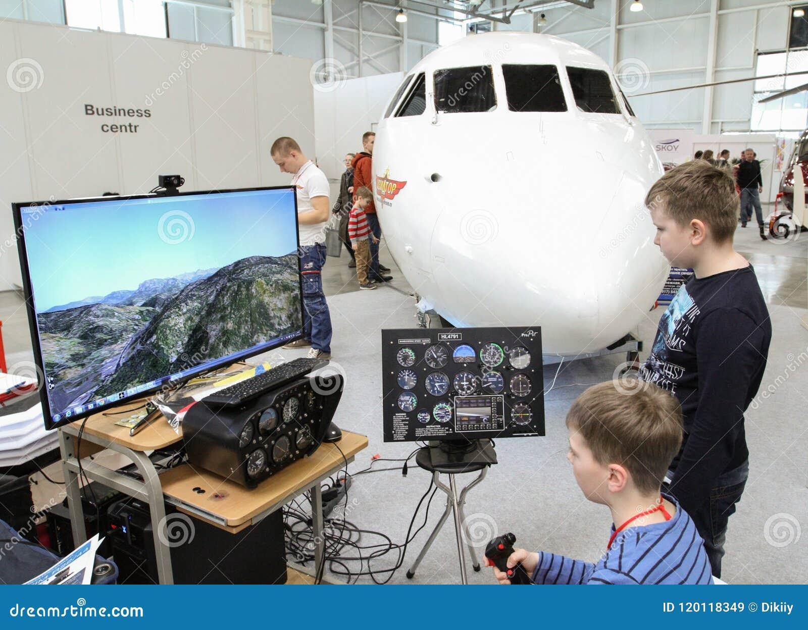 Training On The Flight Simulator Editorial Stock Image - Image of