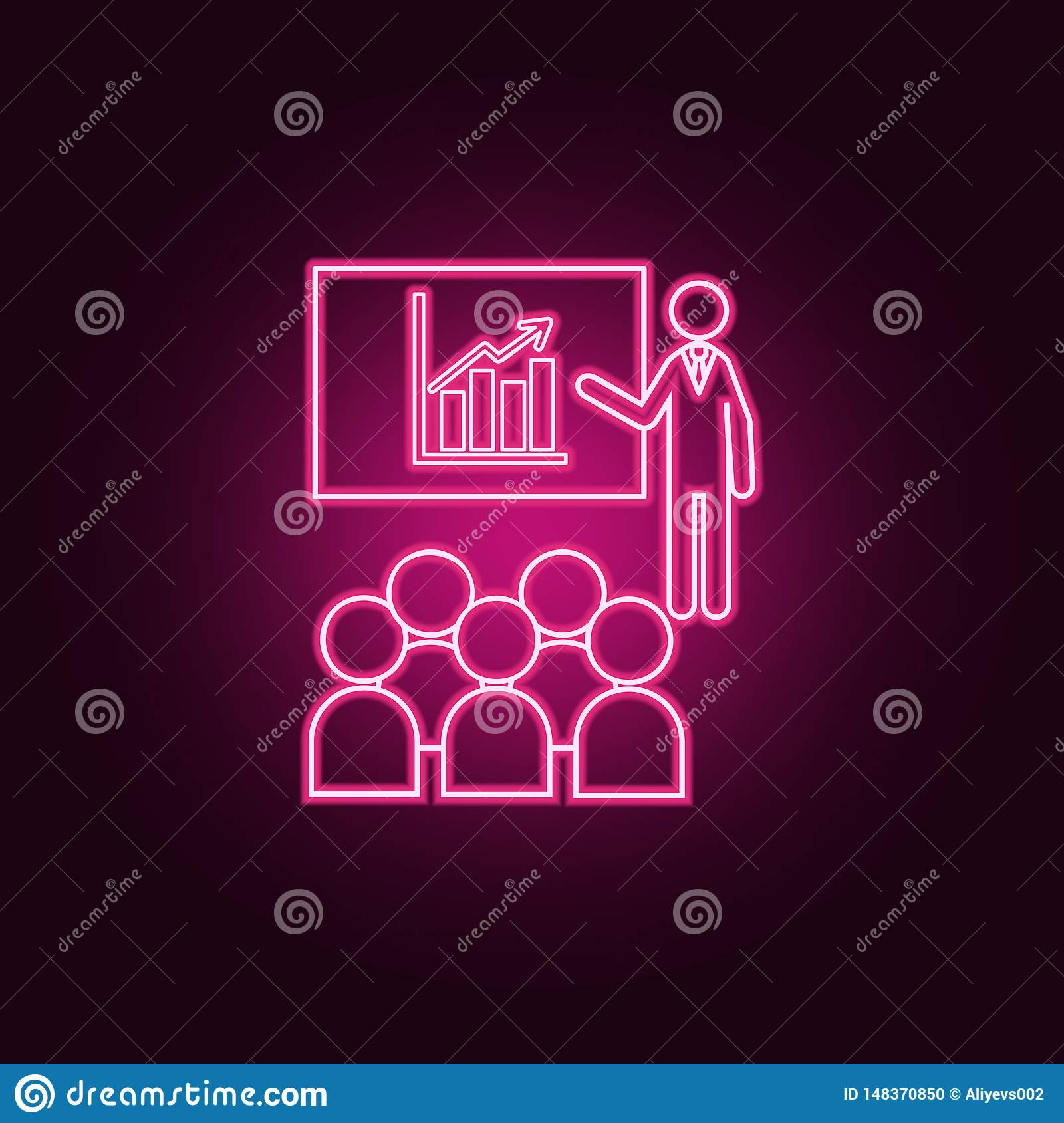 Training Or Presentation Neon Icon  Elements Of Team Work Set
