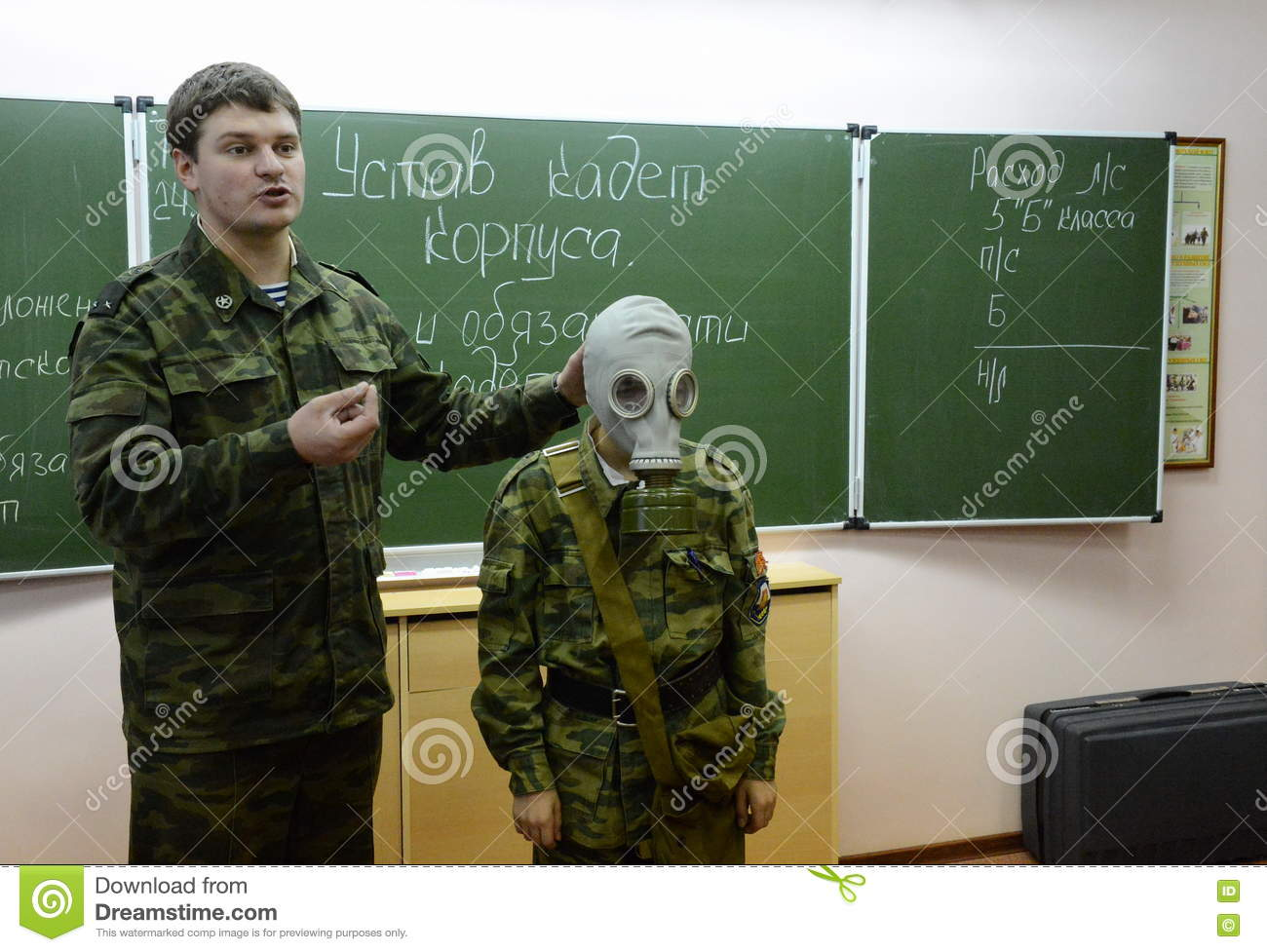 Training Putting On The Gas Mask Editorial Image - Image of