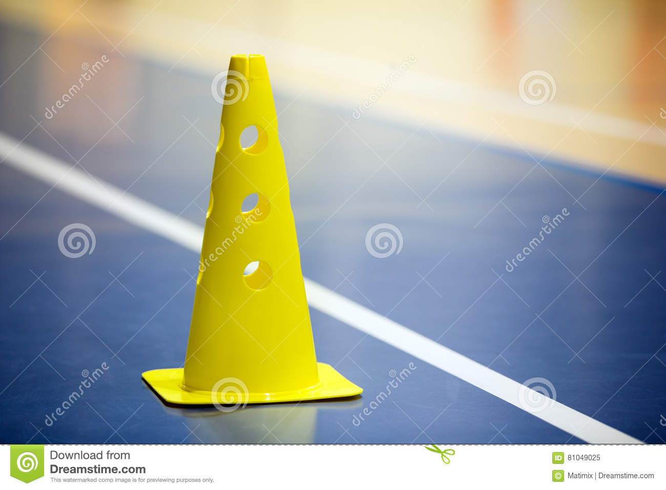 Training soccer futsal indoor gym training. Soccer cone on the wooden floor