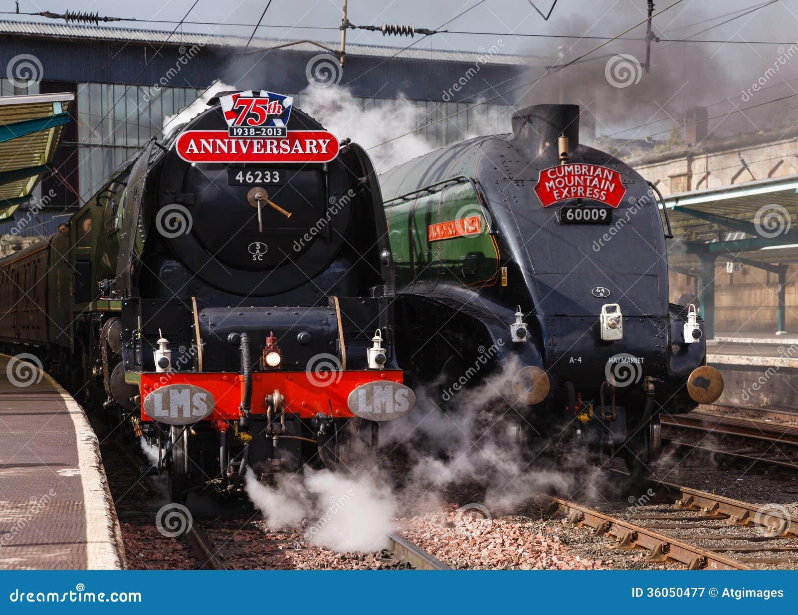 Trains de vapeur sur le défilé