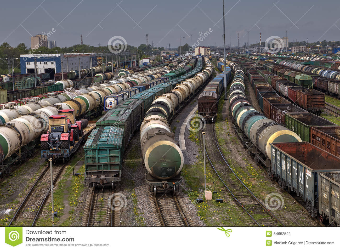 Trains of freight wagons in marshalling yard, Russia.