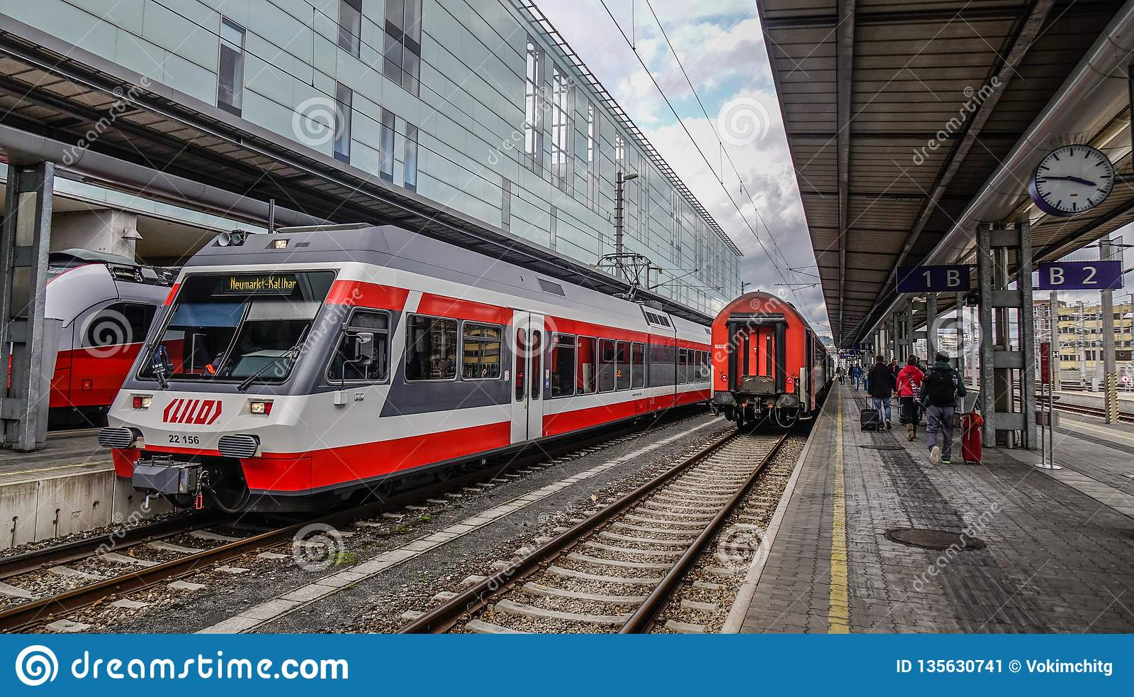 Trains at railway station in Linz, Austria