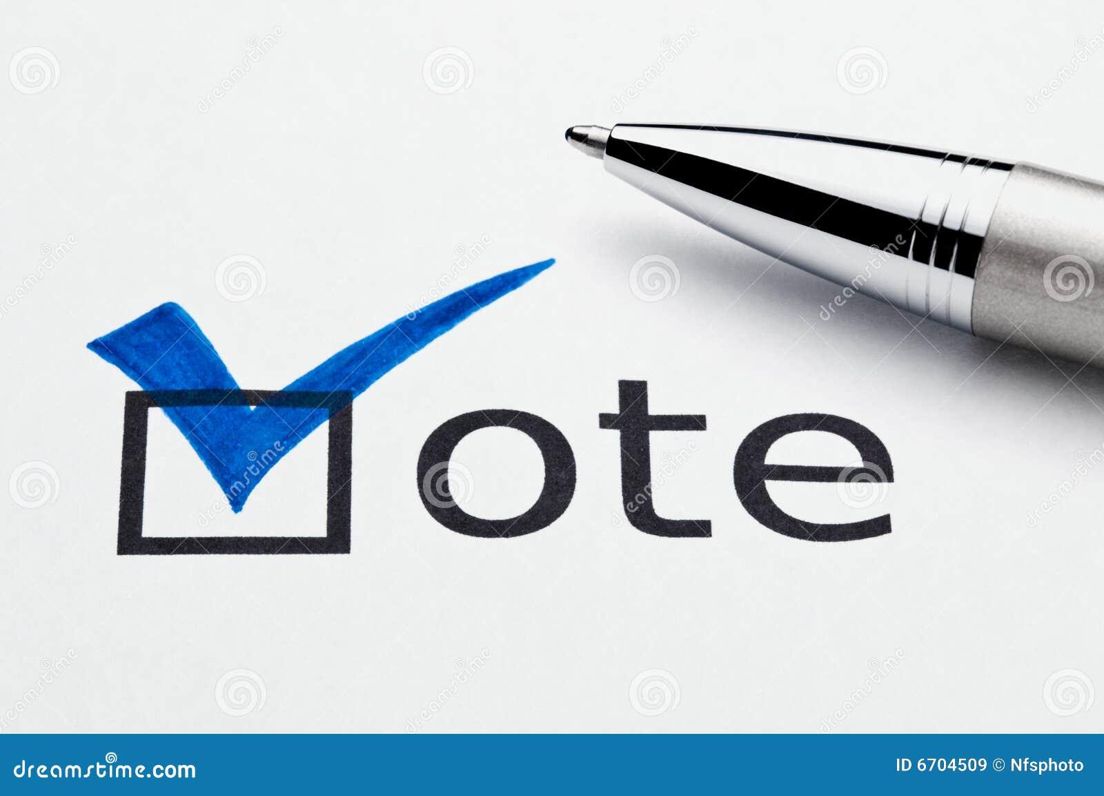 Trait de repère bleu sur le checkbox de voix, crayon lecteur sur le vote
