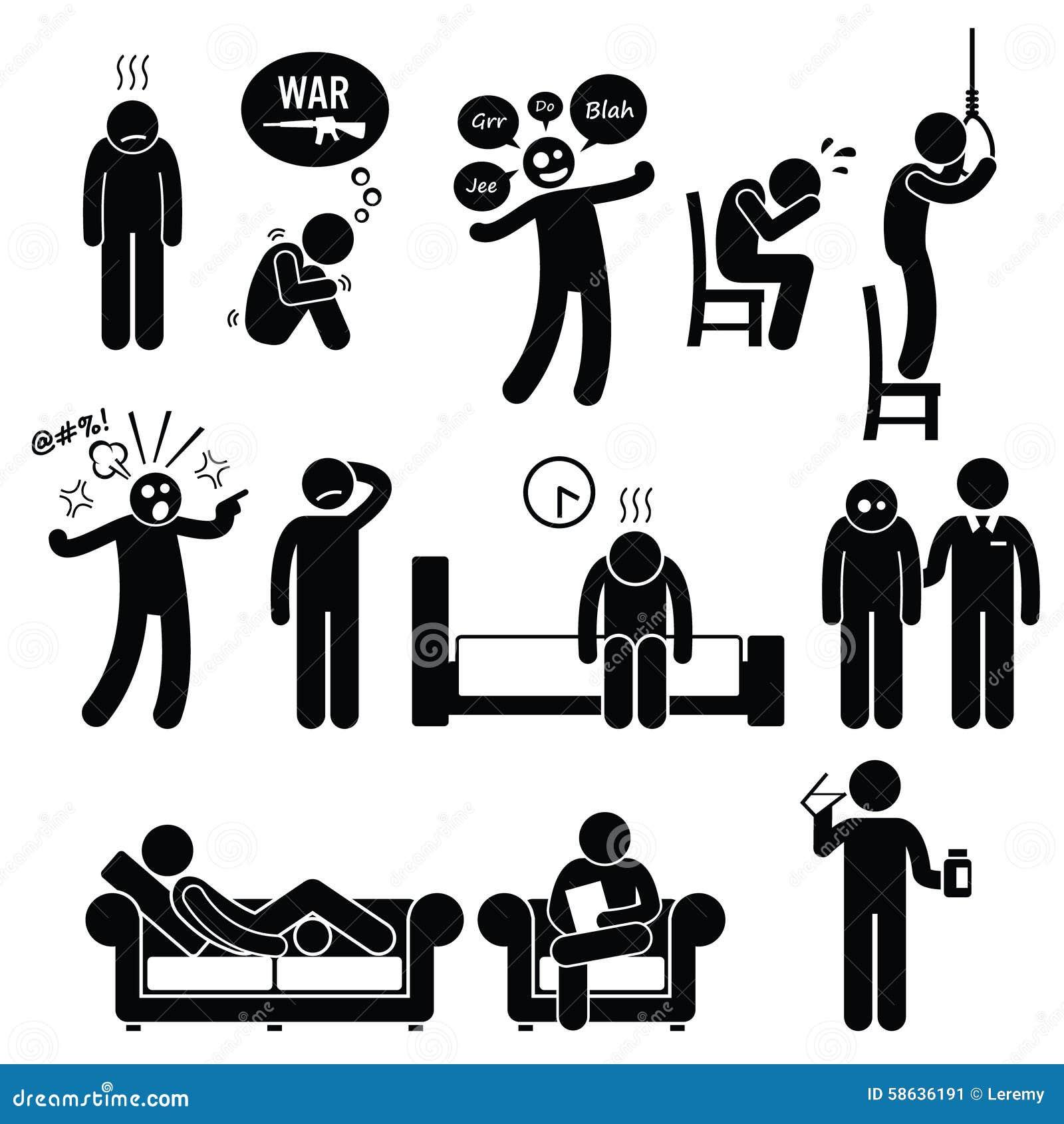 traitement psychiatrique de maladie de probl me de trouble mental de psychologie illustration de. Black Bedroom Furniture Sets. Home Design Ideas