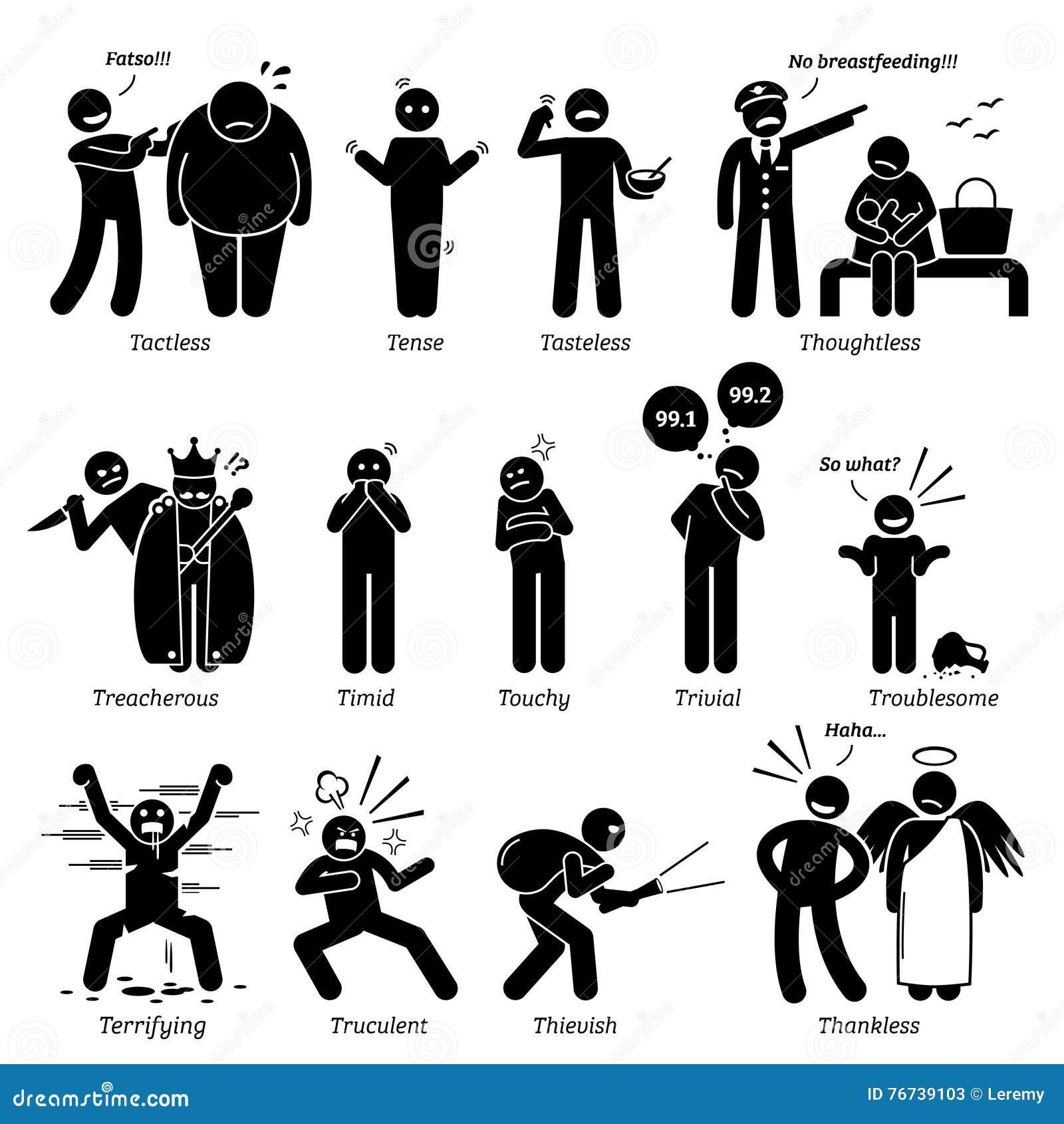 Traits de caractère négatifs de personnalités Clipart