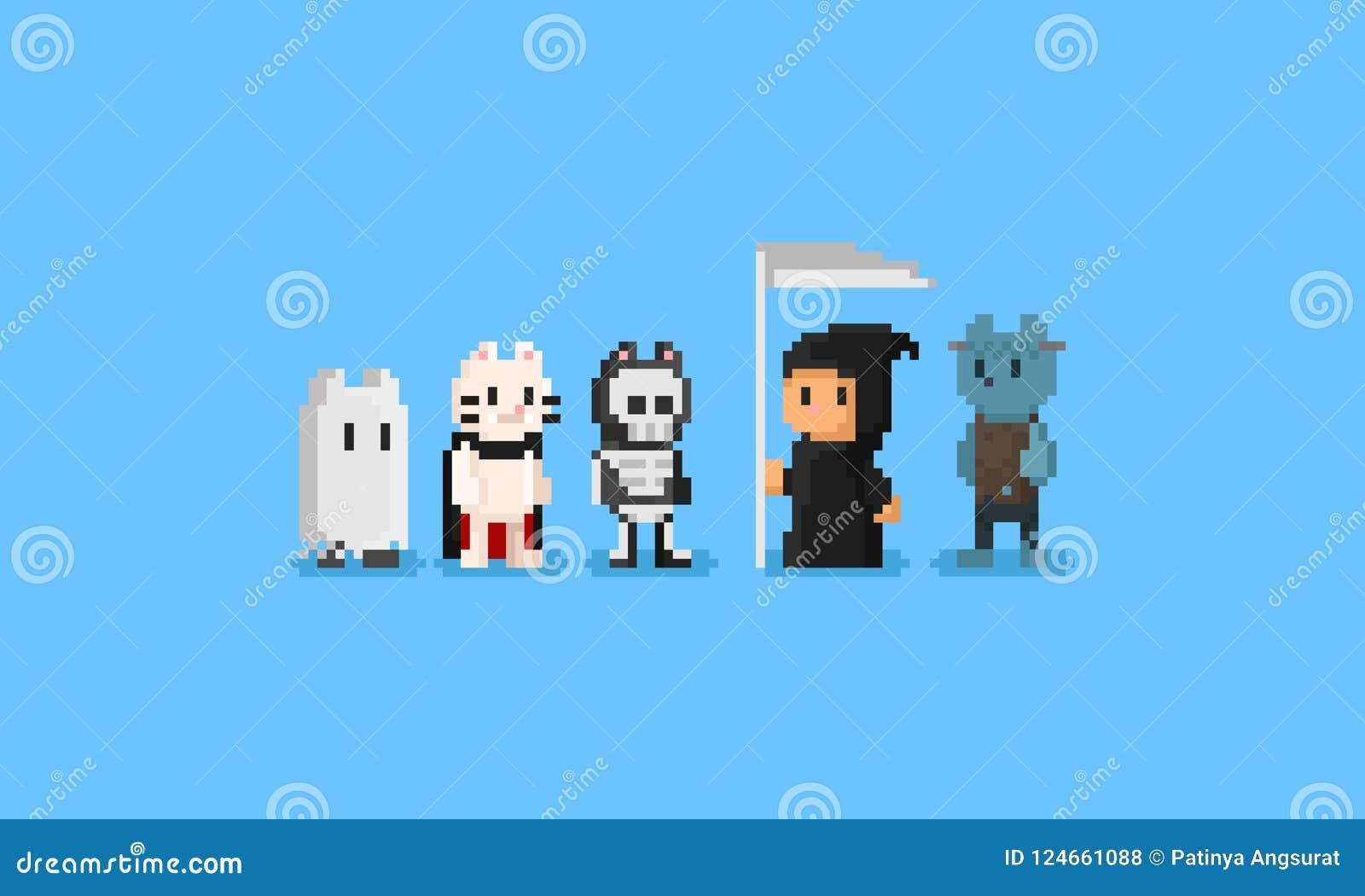 Traje de Halloween del desgaste de los gatos del pixel carácter 8bit