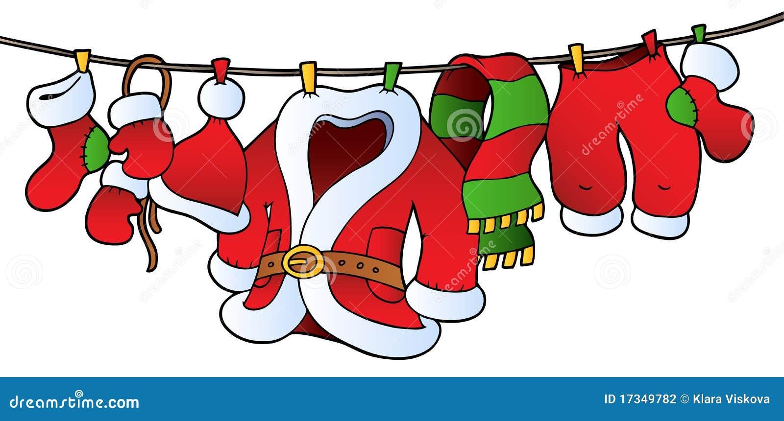 Traje de la Navidad en cuerda para tender la ropa