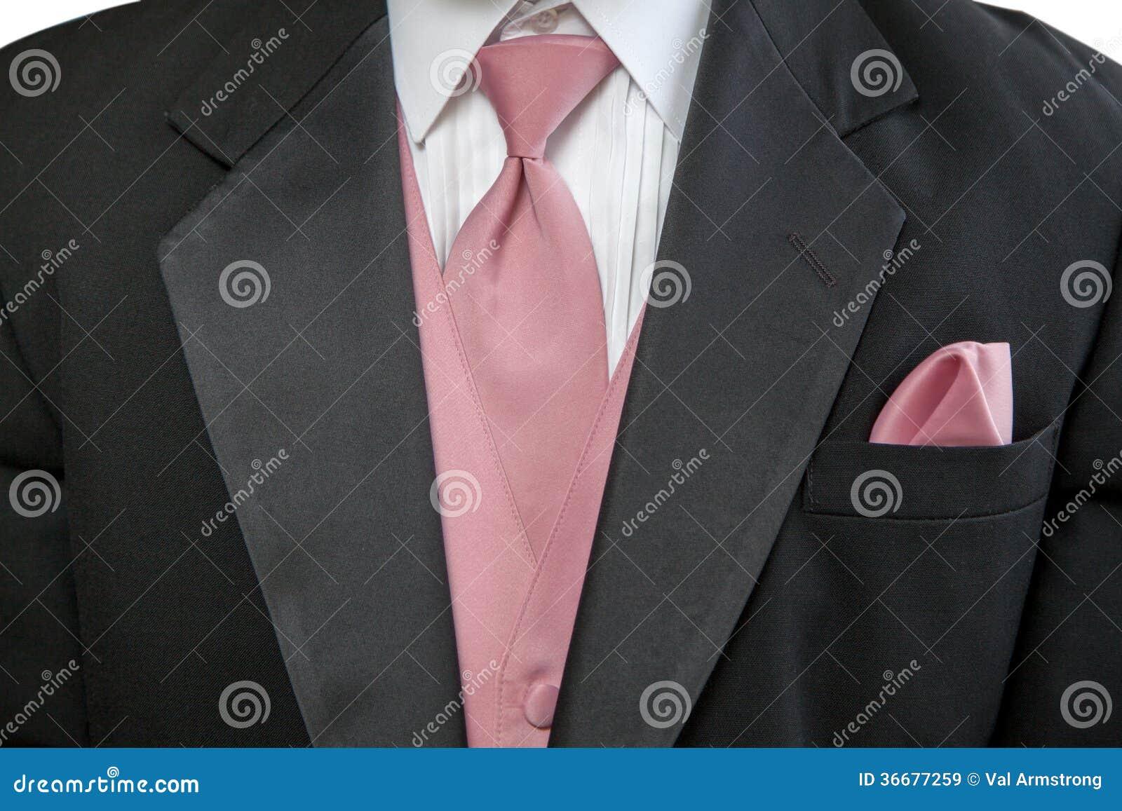 Traje Negro Formal Con El Lazo Y El Pañuelo Rosados Imagen de ...