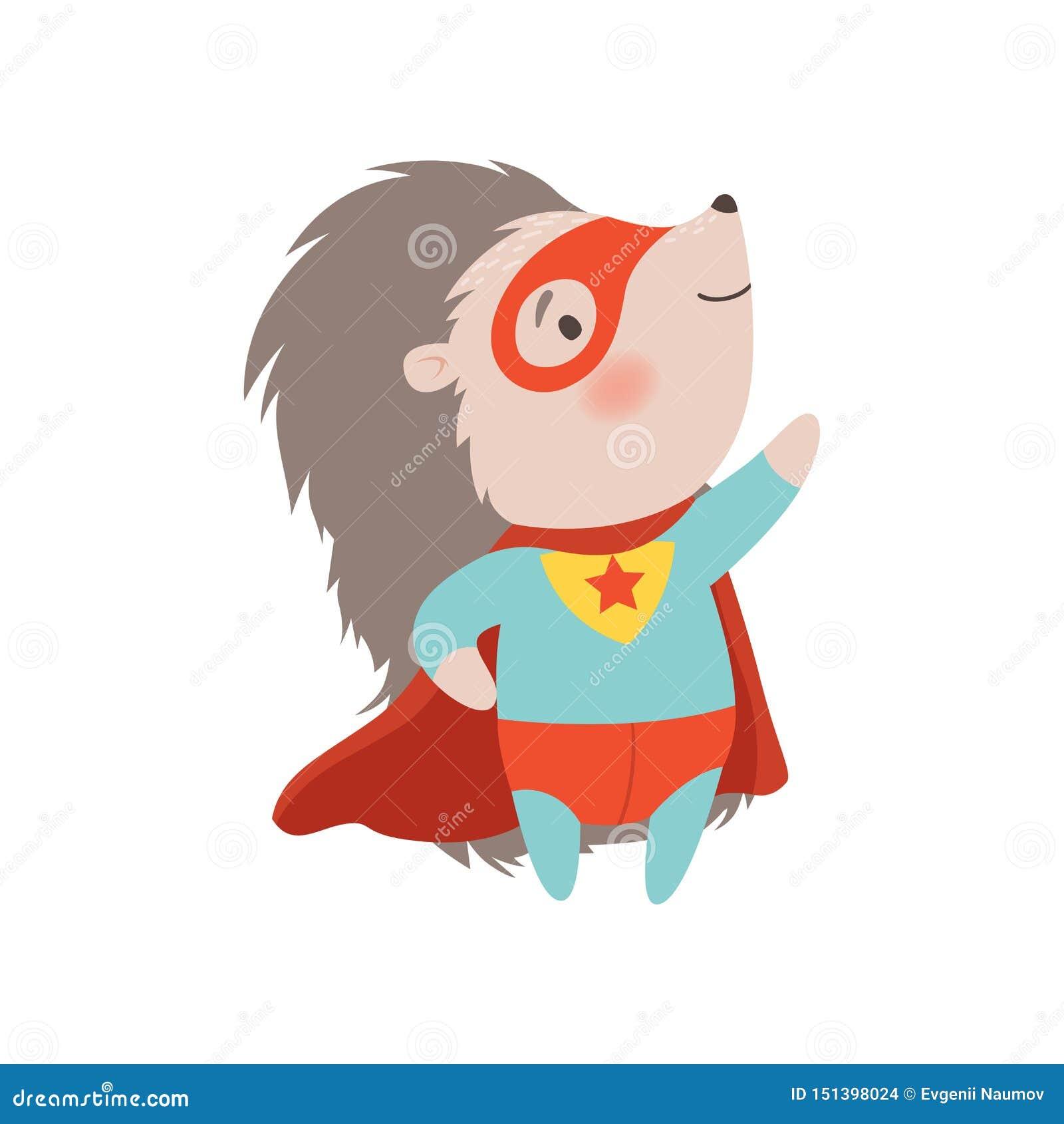 Traje y máscara que llevan, ejemplo animal espinoso valiente del super héroe del erizo lindo del vector del personaje de dibujos