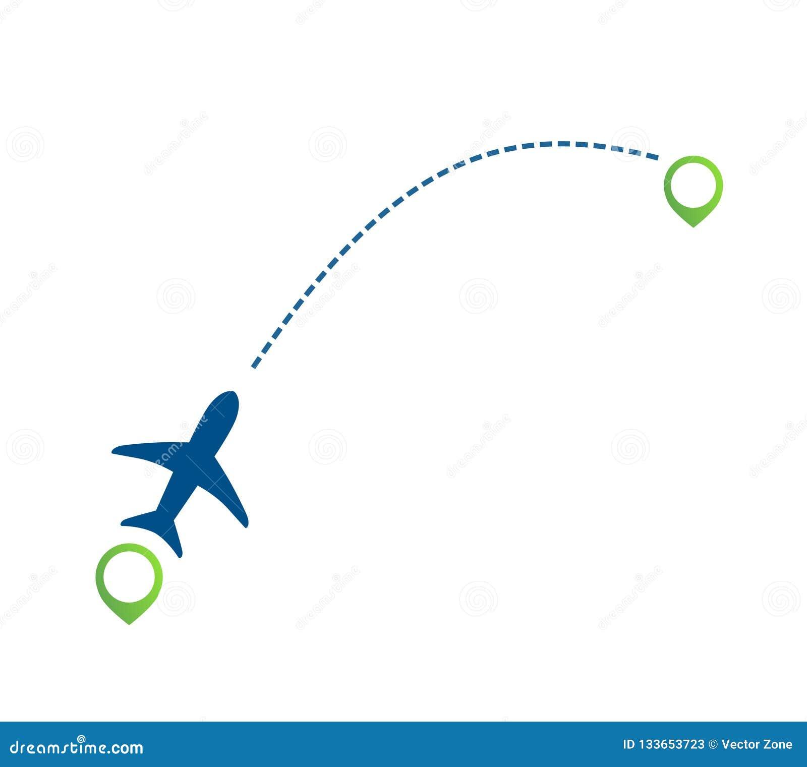 Trajectoire de vol plate de ligne aérienne avec l icône d indicateur de vert d emplacement de carte