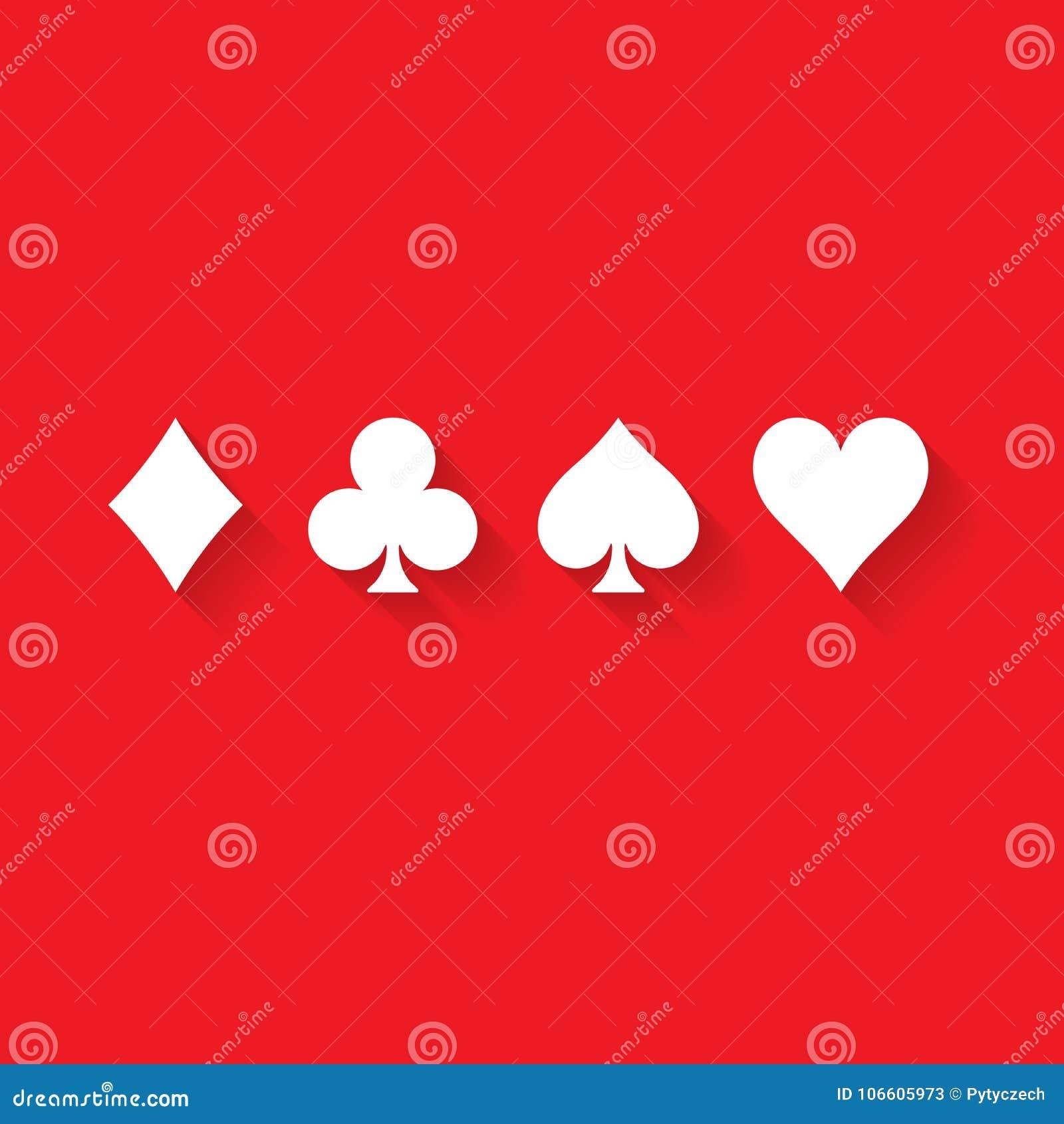 Trajes De La Tarjeta Del Póker Corazones Clubs Espadas Y