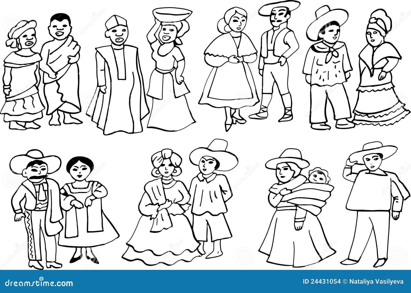 Trajes Nacionales Africanos Y Latinoamericanos Ilustración Del