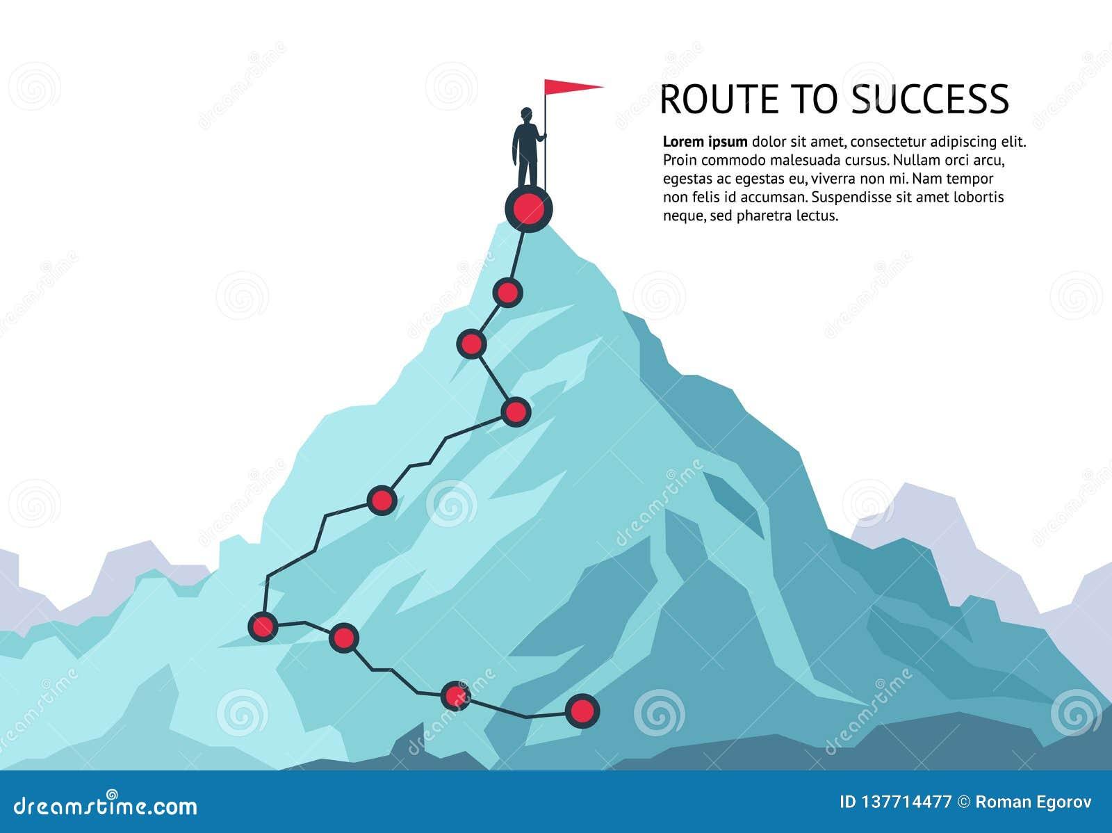 Trajeto da viagem da montanha Viagem superior do plano do crescimento do objetivo da carreira infographic do desafio da rota ao s