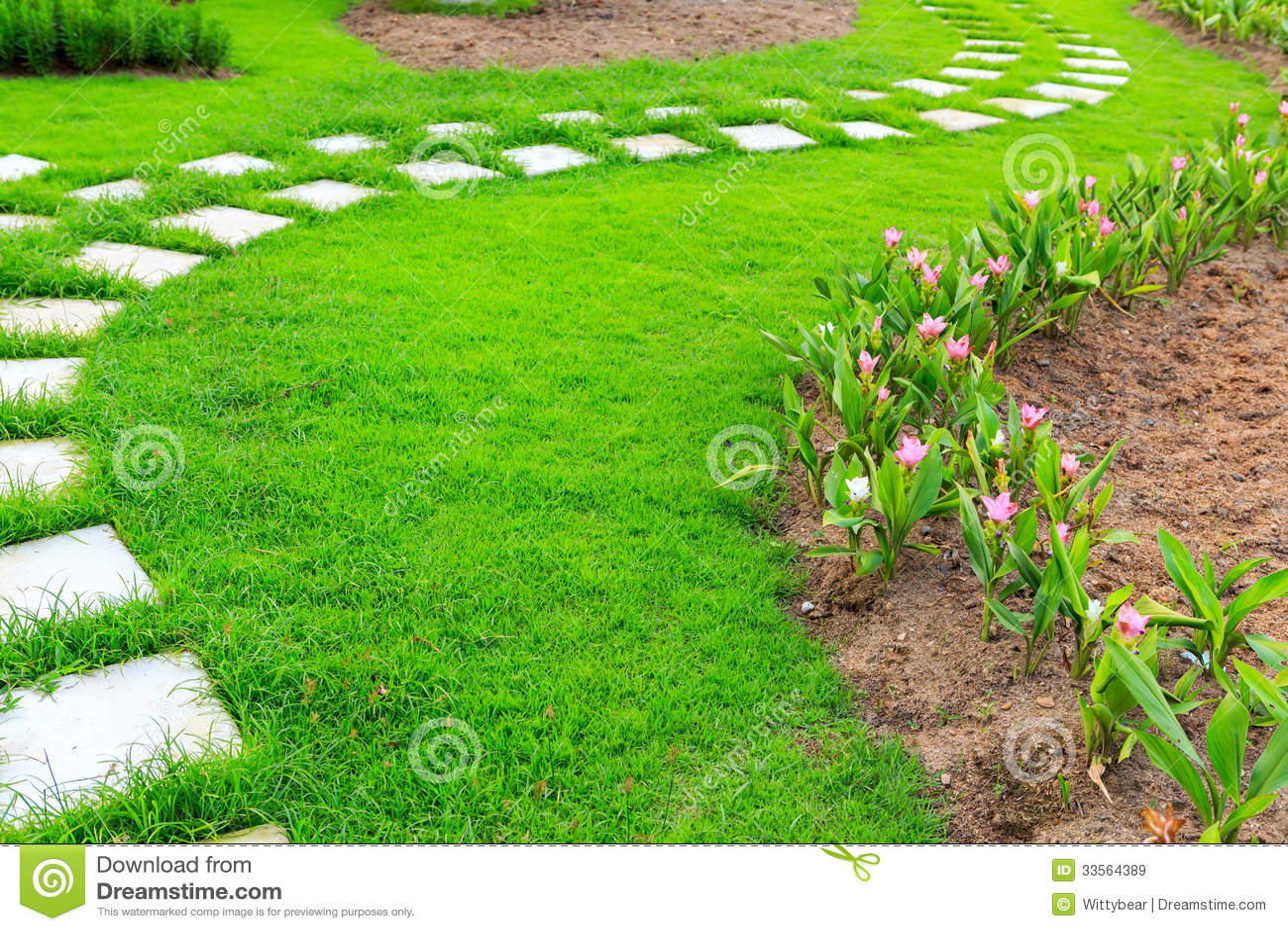 Trajeto de pedra do p do jardim com grama imagem de stock for Como criar caracoles de jardin