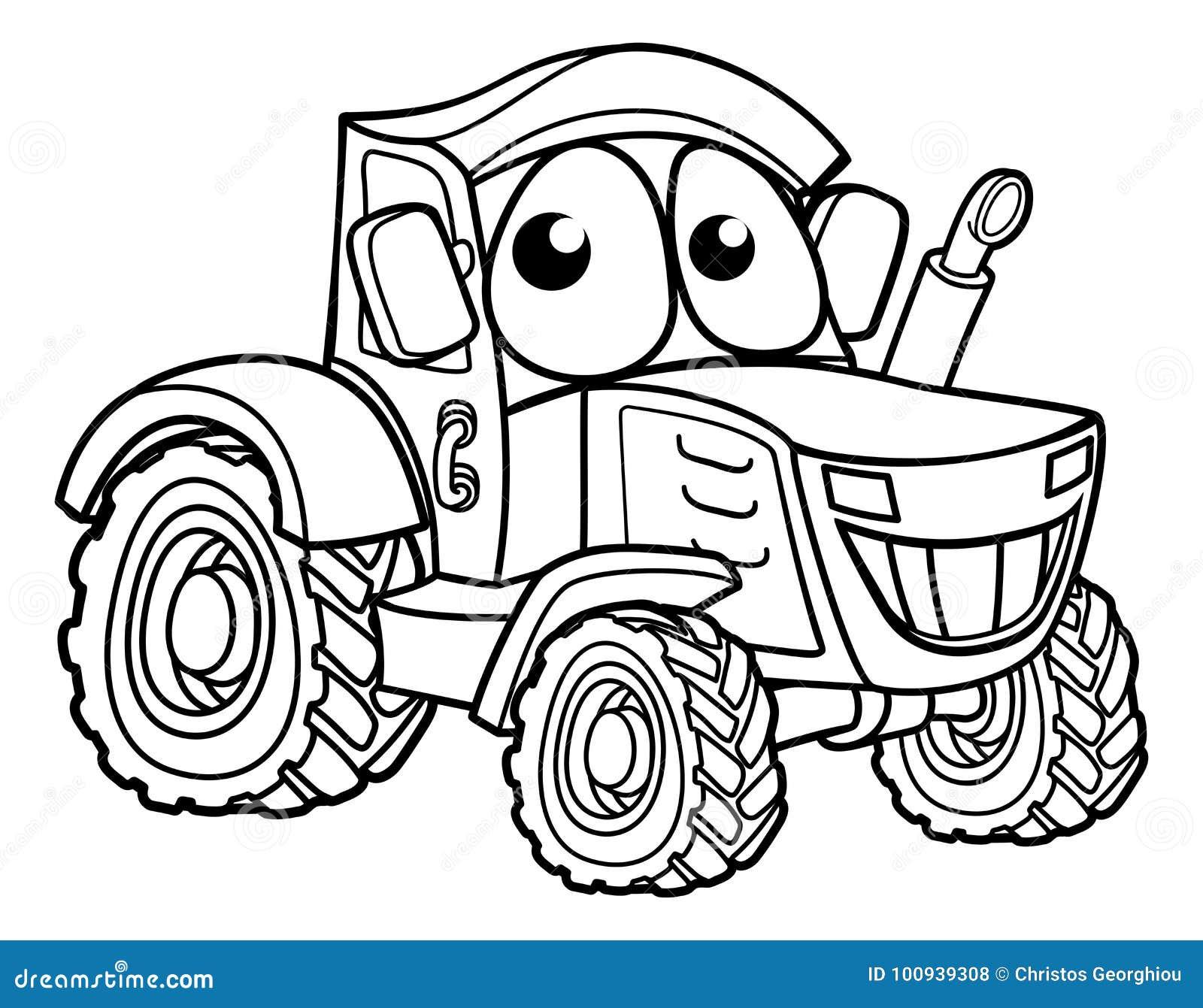 Traktor zeichentrickfilm figur vektor abbildung illustration von ernte graphik 100939308 - Image de tracteur a colorier ...