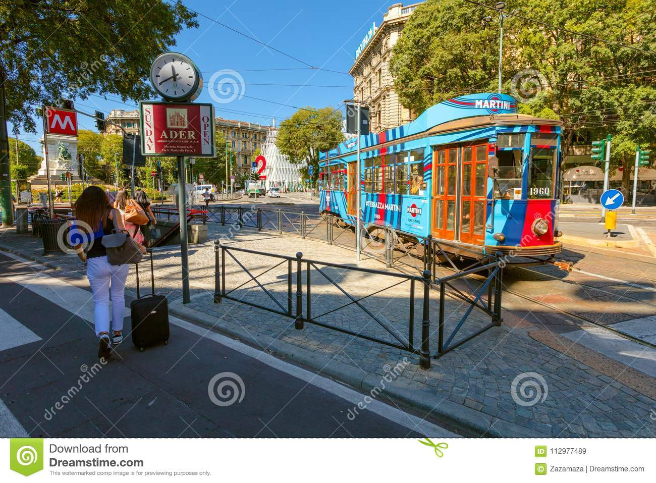 MILAN, ITALY - September 07, 2016: The tram has stopped on the tram stop near metro station Cairoli which is located on