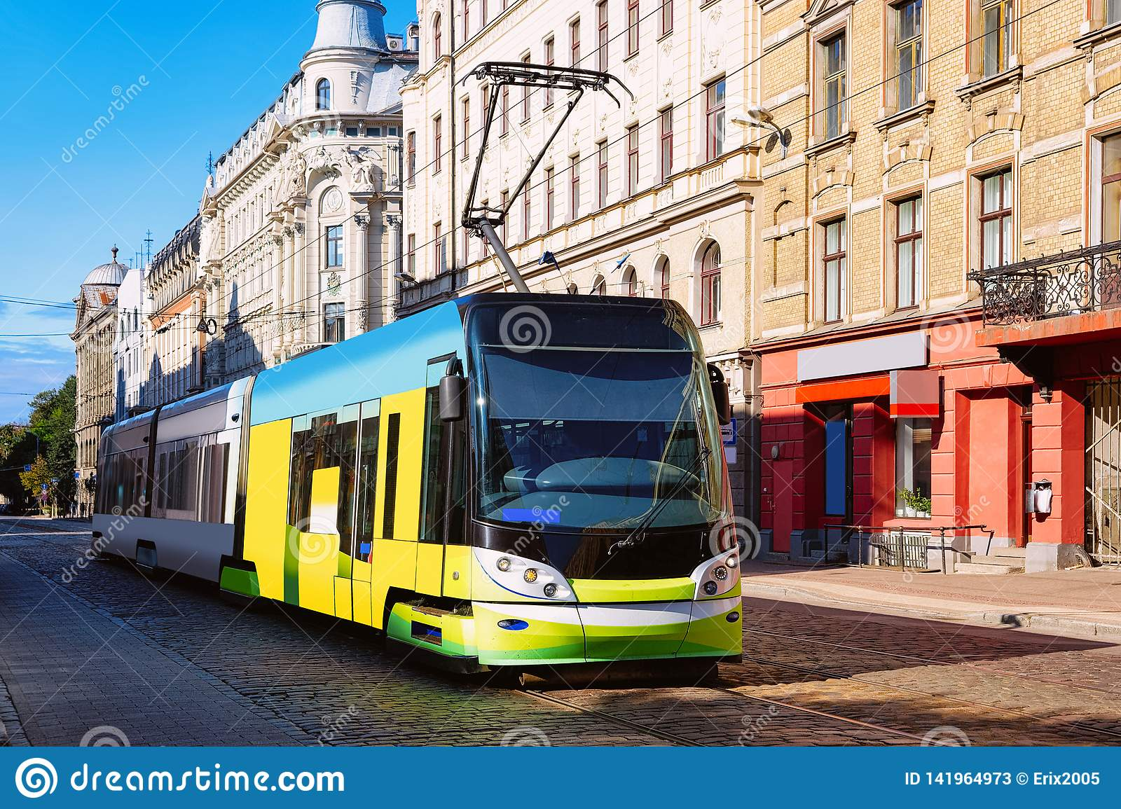 Tram in street of Riga in Latvia