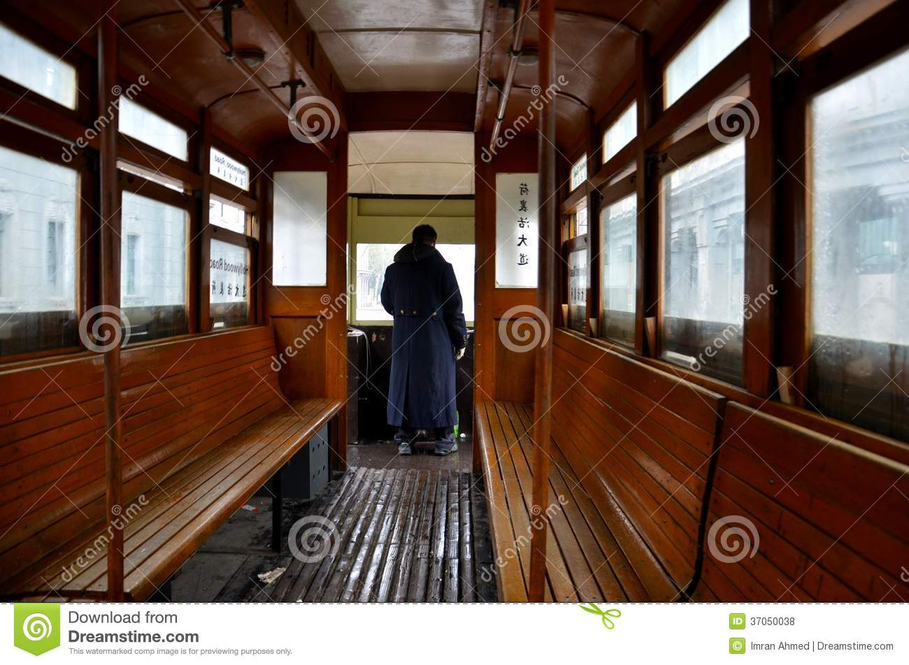 Tram Trolley Driver And Interior Wooden Benches Editorial