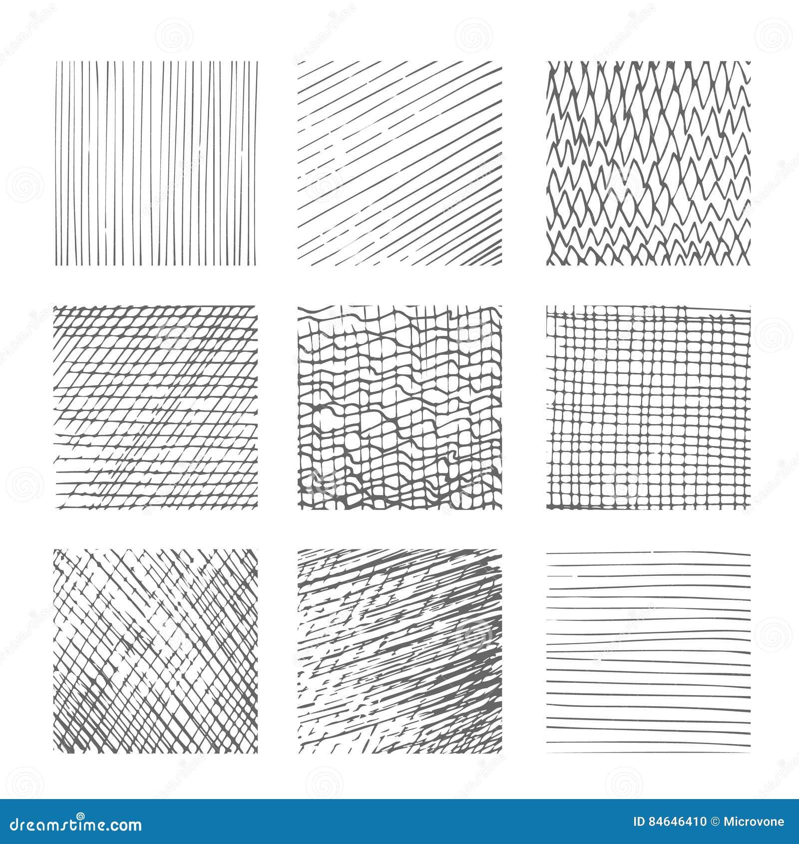 Trama De Texturas, Líneas Cruzadas, Sistema Del Vector Del Fondo ...