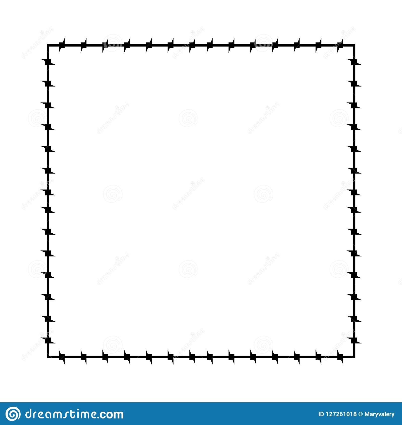 Trame dénudée de fil Frontière de prison de cadre de Barb Illustration de vecteur